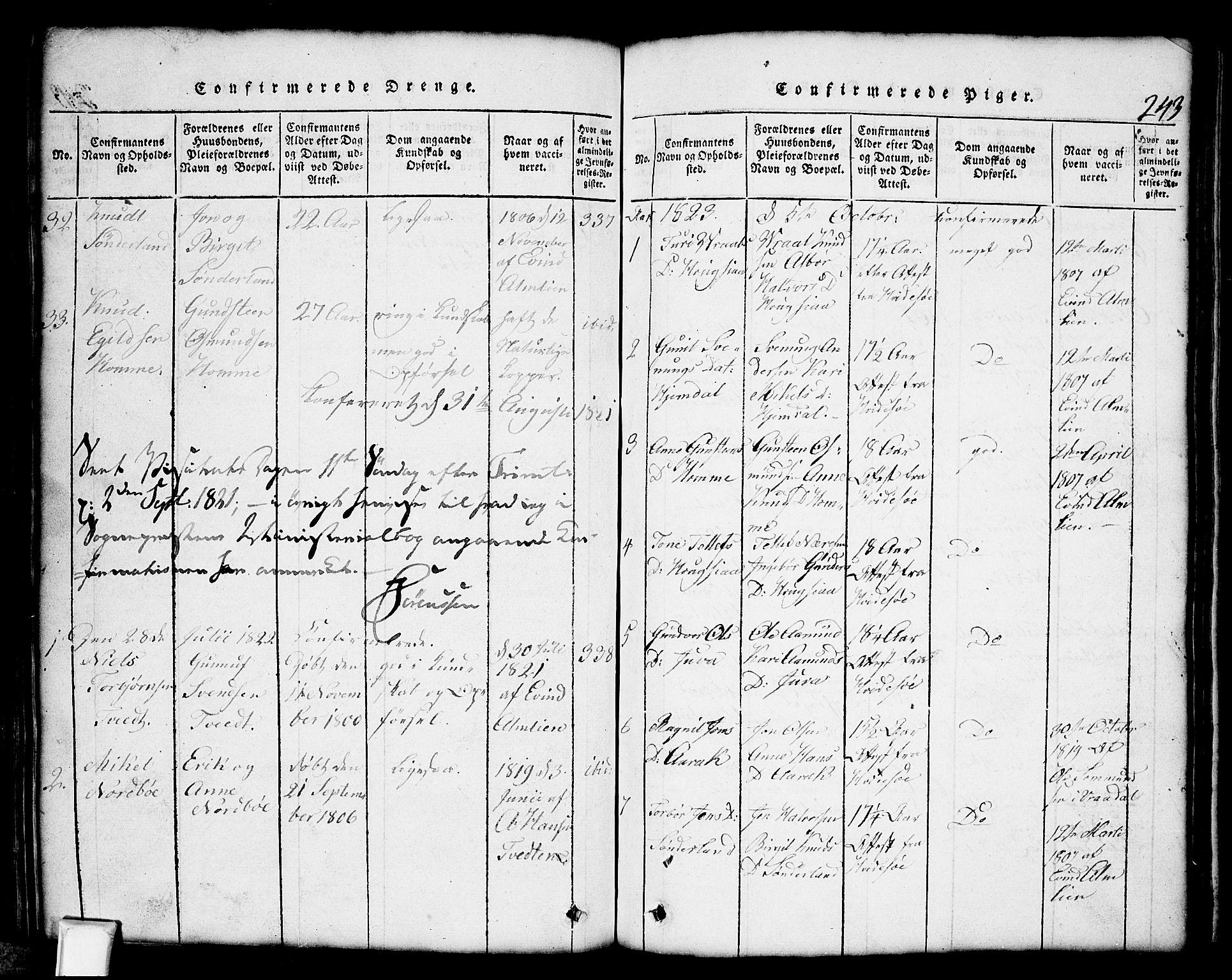 SAKO, Nissedal kirkebøker, G/Gb/L0001: Klokkerbok nr. II 1, 1814-1862, s. 243