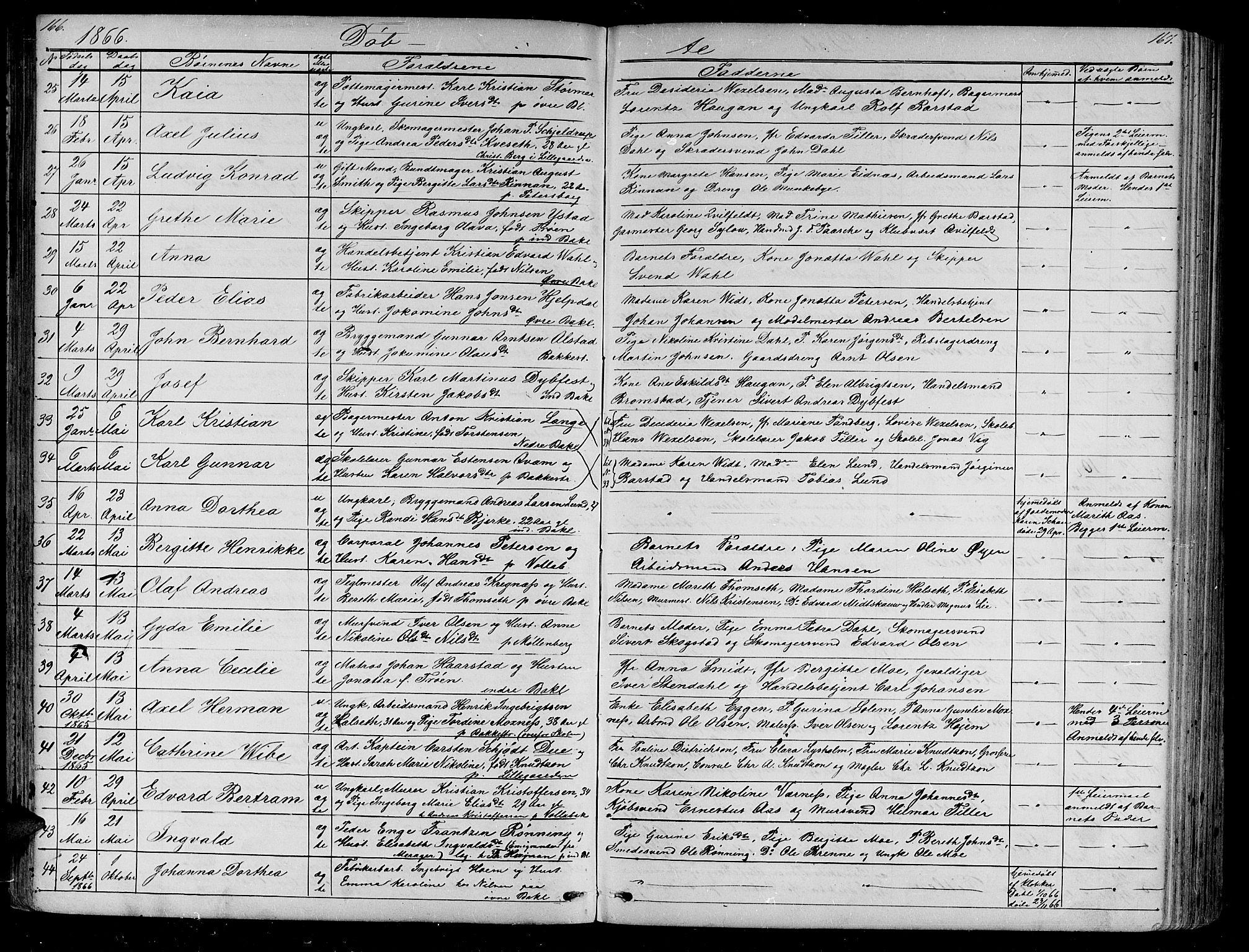 SAT, Ministerialprotokoller, klokkerbøker og fødselsregistre - Sør-Trøndelag, 604/L0219: Klokkerbok nr. 604C02, 1851-1869, s. 166-167