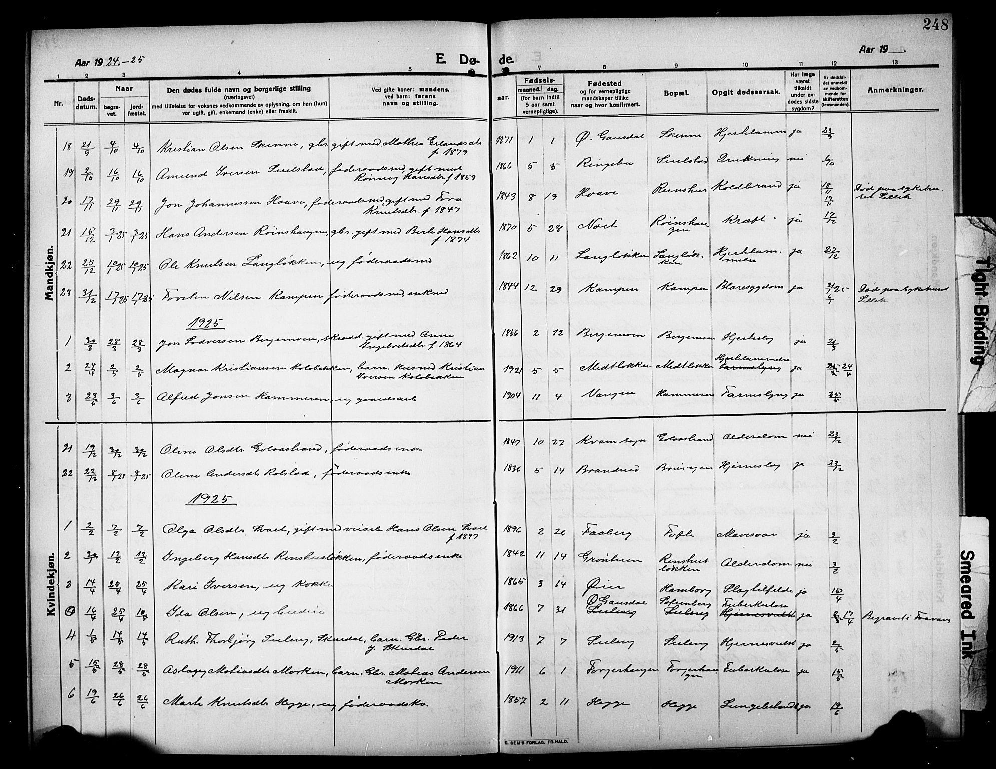 SAH, Sør-Fron prestekontor, H/Ha/Hab/L0005: Klokkerbok nr. 5, 1912-1930, s. 248