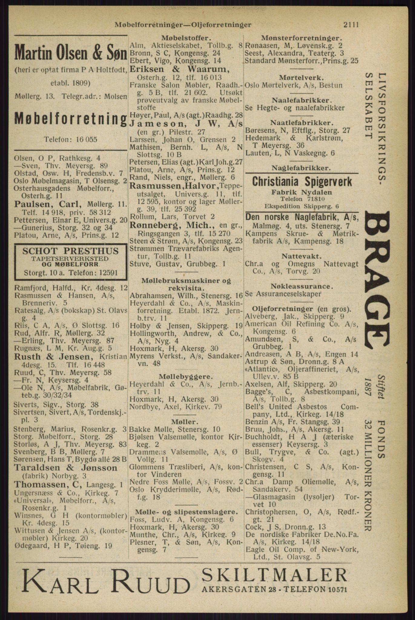 RA, Oslo adressebok (publikasjon)*, 1927, s. 2111