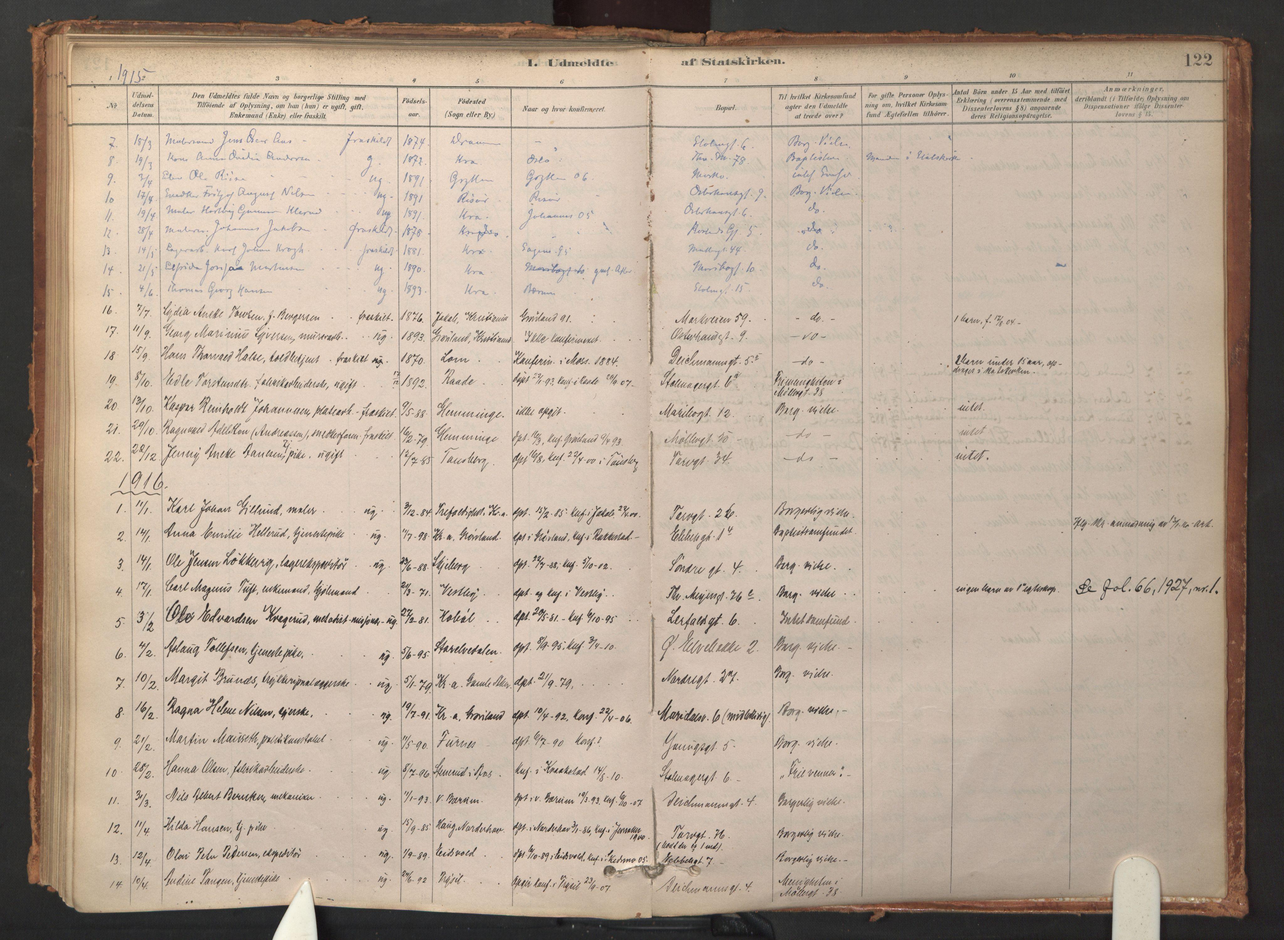 SAO, Jakob prestekontor Kirkebøker, F/Fa/L0015: Ministerialbok nr. 15, 1878-1983, s. 122
