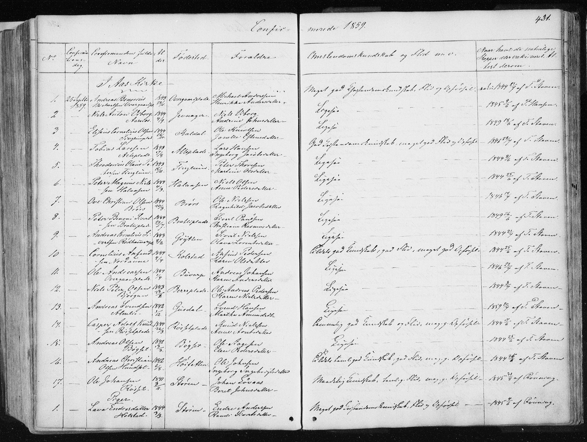 SAT, Ministerialprotokoller, klokkerbøker og fødselsregistre - Nord-Trøndelag, 741/L0393: Ministerialbok nr. 741A07, 1849-1863, s. 431