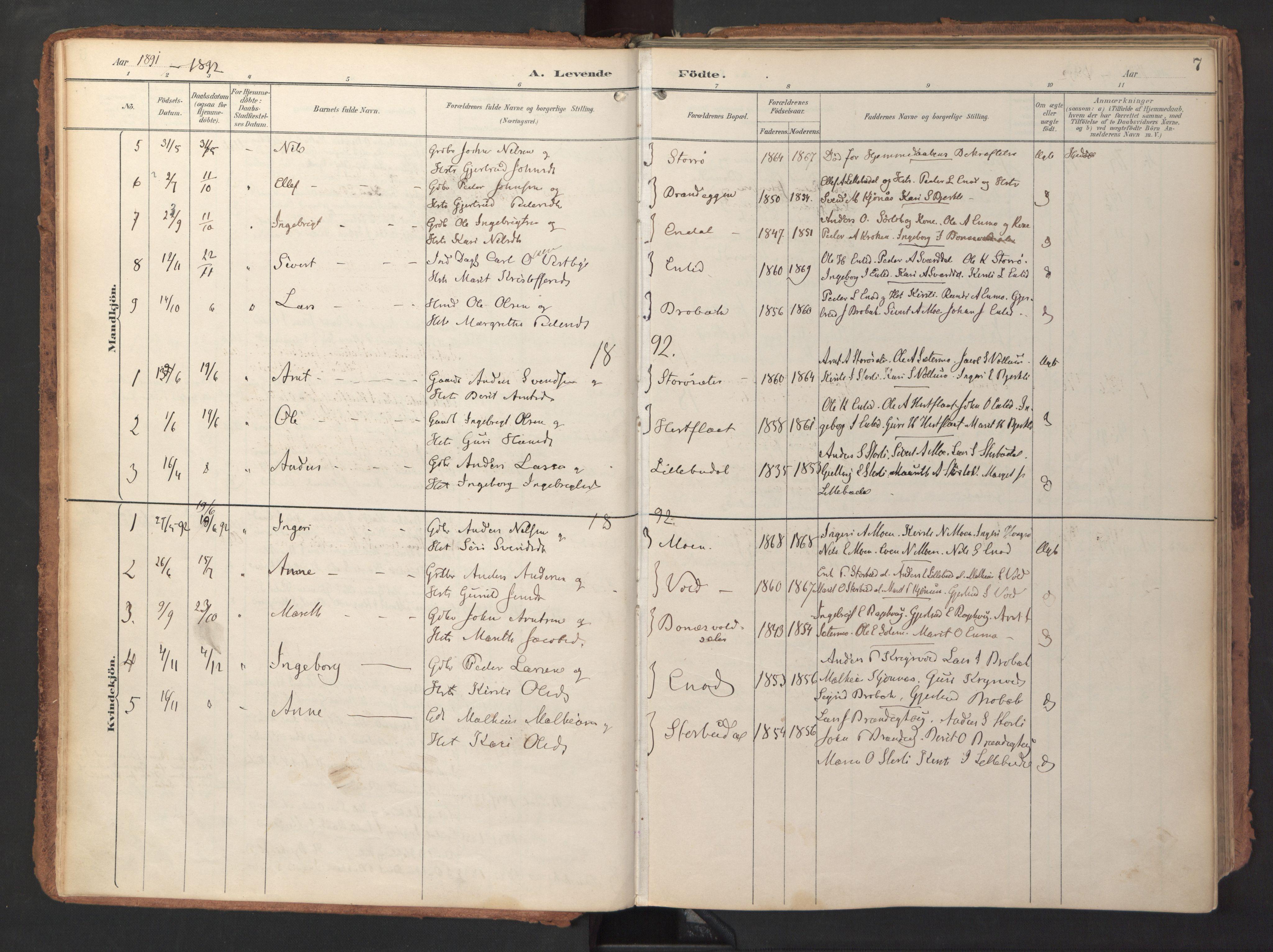 SAT, Ministerialprotokoller, klokkerbøker og fødselsregistre - Sør-Trøndelag, 690/L1050: Ministerialbok nr. 690A01, 1889-1929, s. 7