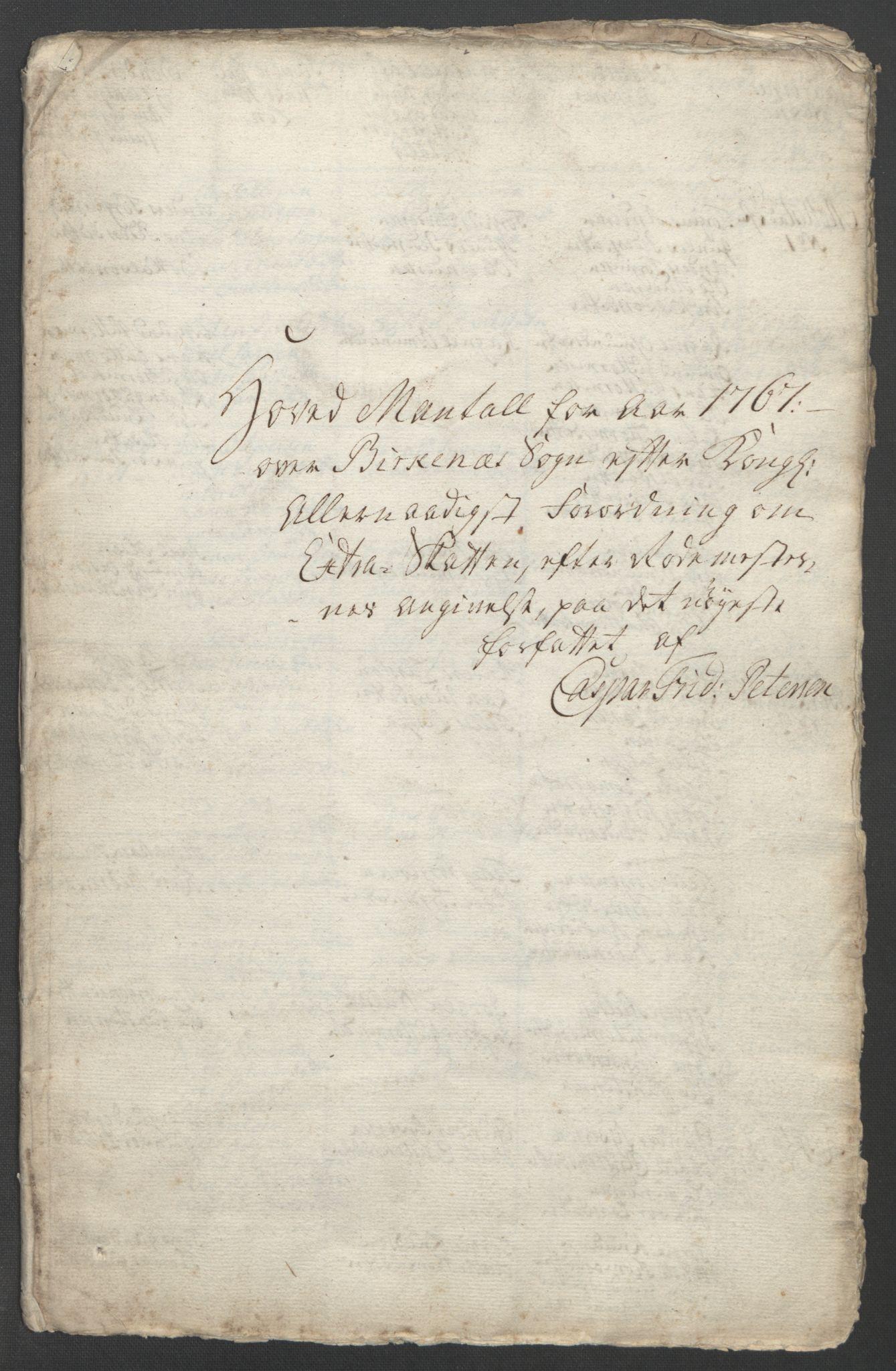 RA, Rentekammeret inntil 1814, Reviderte regnskaper, Fogderegnskap, R39/L2424: Ekstraskatten Nedenes, 1762-1767, s. 350