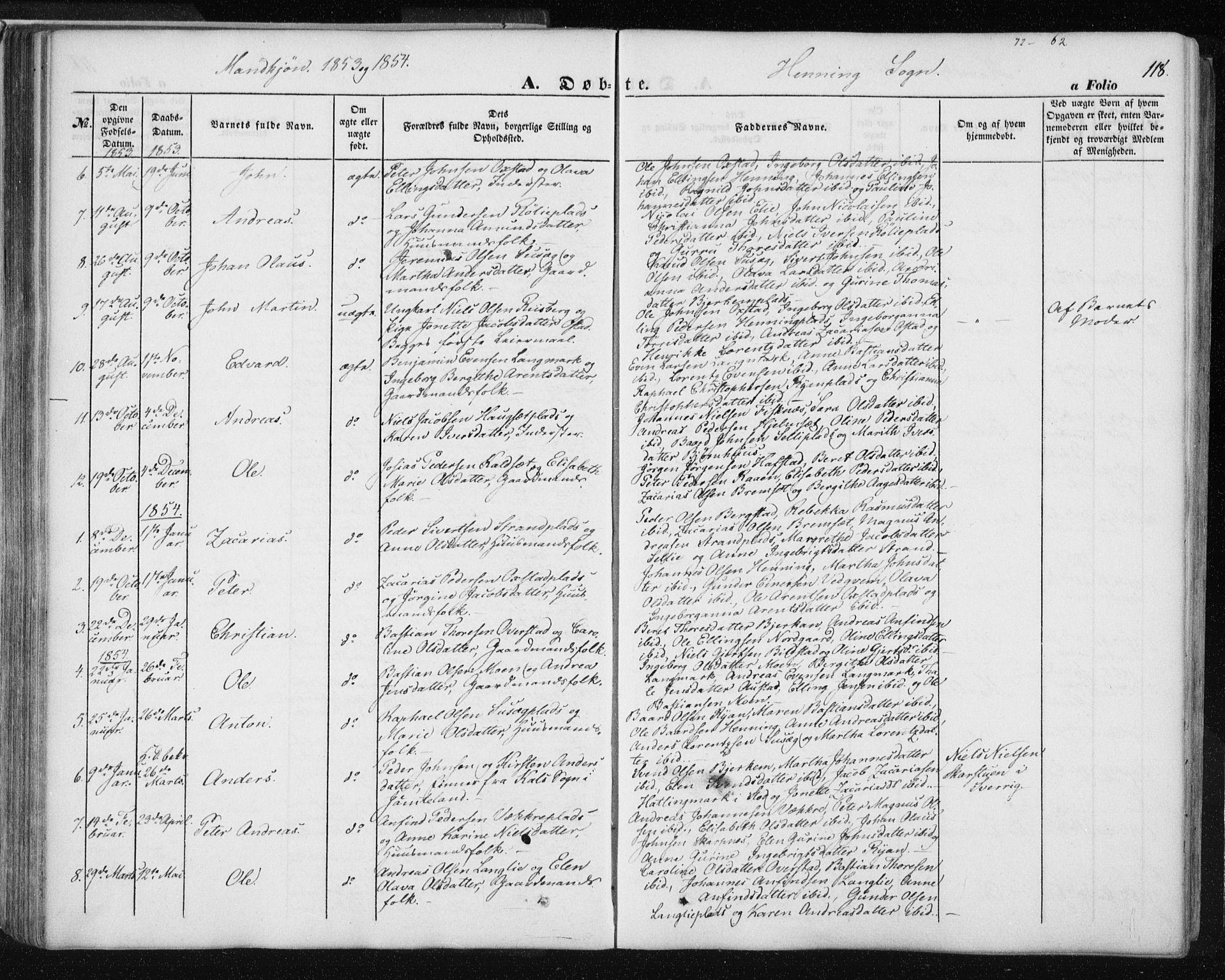 SAT, Ministerialprotokoller, klokkerbøker og fødselsregistre - Nord-Trøndelag, 735/L0342: Ministerialbok nr. 735A07 /3, 1849-1862, s. 118