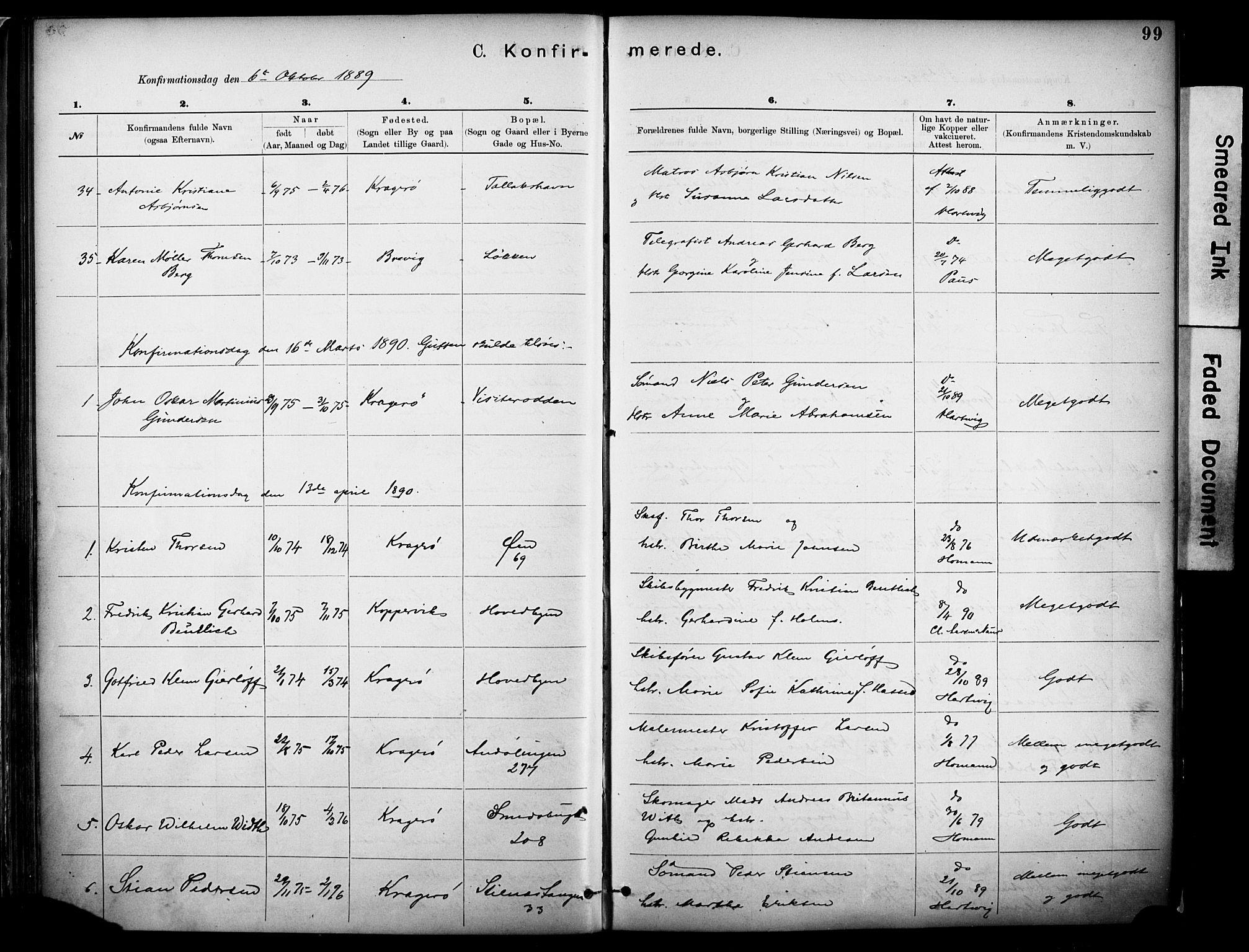 SAKO, Kragerø kirkebøker, F/Fa/L0012: Ministerialbok nr. I 12, 1880-1904, s. 99