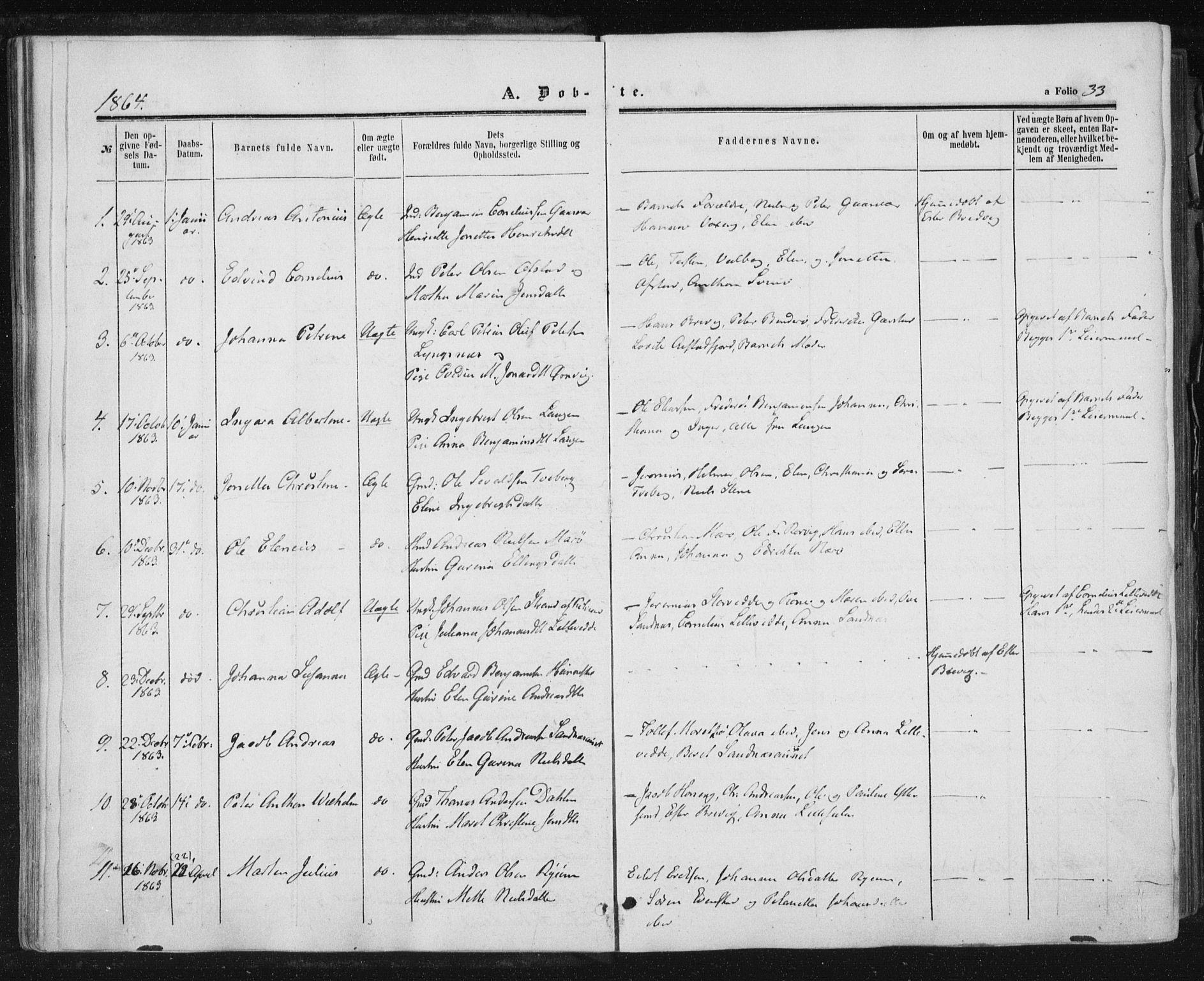 SAT, Ministerialprotokoller, klokkerbøker og fødselsregistre - Nord-Trøndelag, 784/L0670: Ministerialbok nr. 784A05, 1860-1876, s. 33