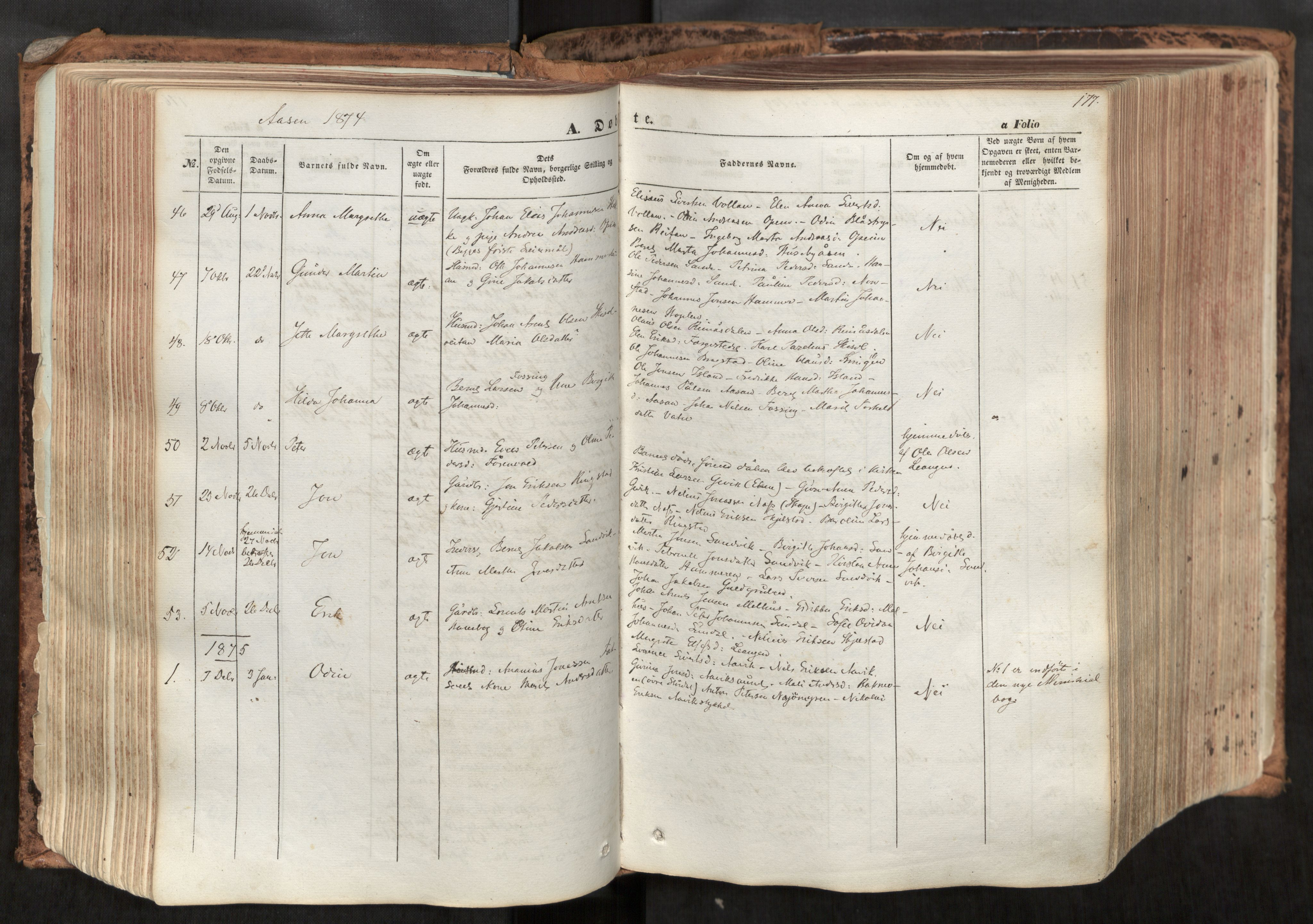 SAT, Ministerialprotokoller, klokkerbøker og fødselsregistre - Nord-Trøndelag, 713/L0116: Ministerialbok nr. 713A07, 1850-1877, s. 177