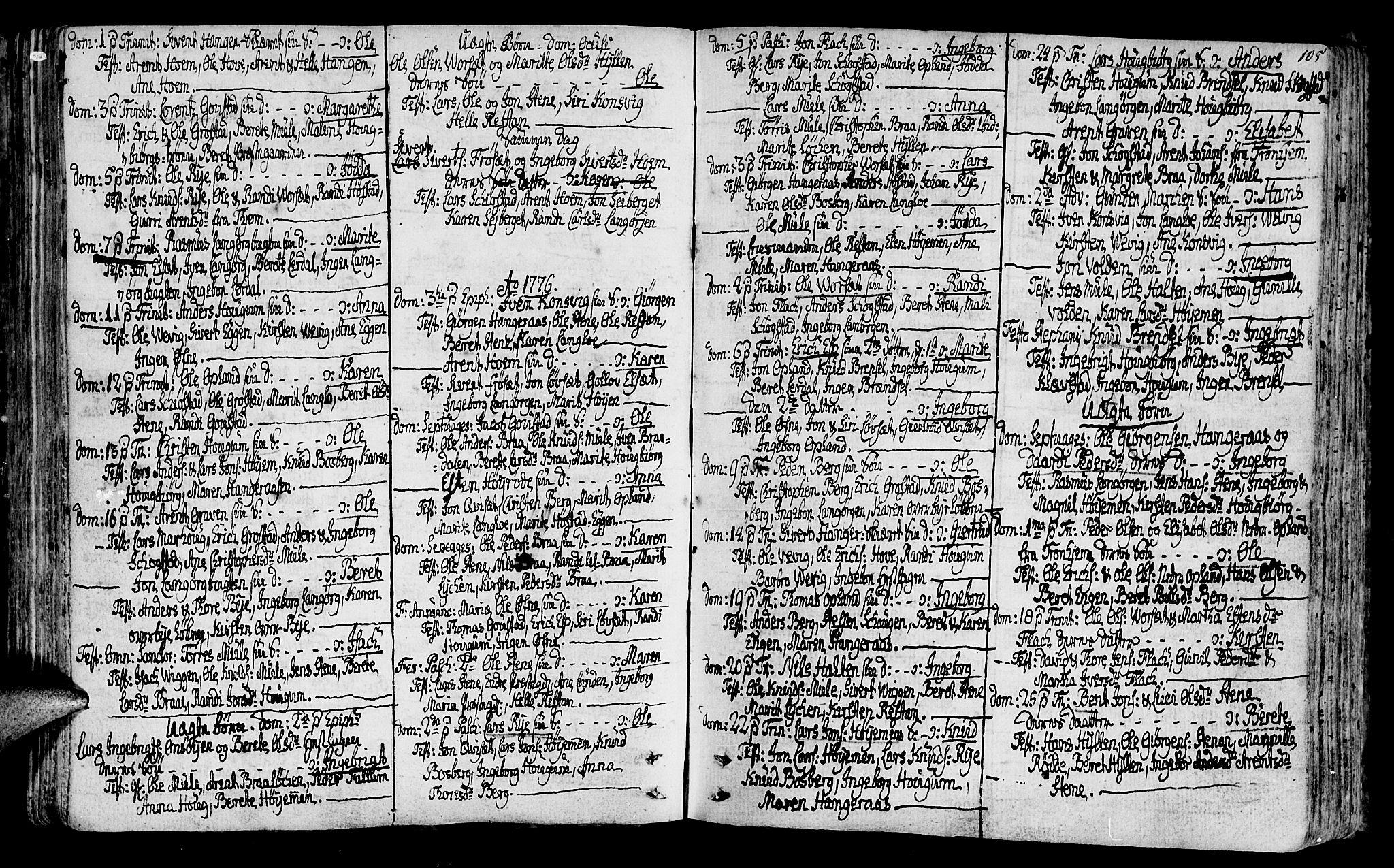 SAT, Ministerialprotokoller, klokkerbøker og fødselsregistre - Sør-Trøndelag, 612/L0370: Ministerialbok nr. 612A04, 1754-1802, s. 105