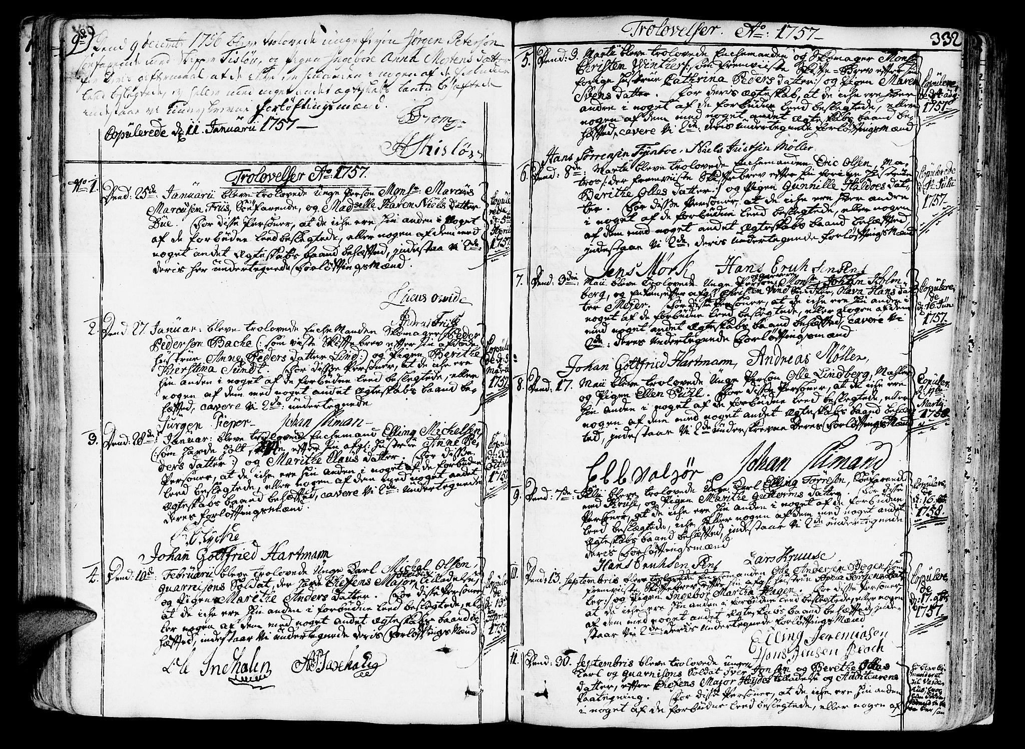 SAT, Ministerialprotokoller, klokkerbøker og fødselsregistre - Sør-Trøndelag, 602/L0103: Ministerialbok nr. 602A01, 1732-1774, s. 332
