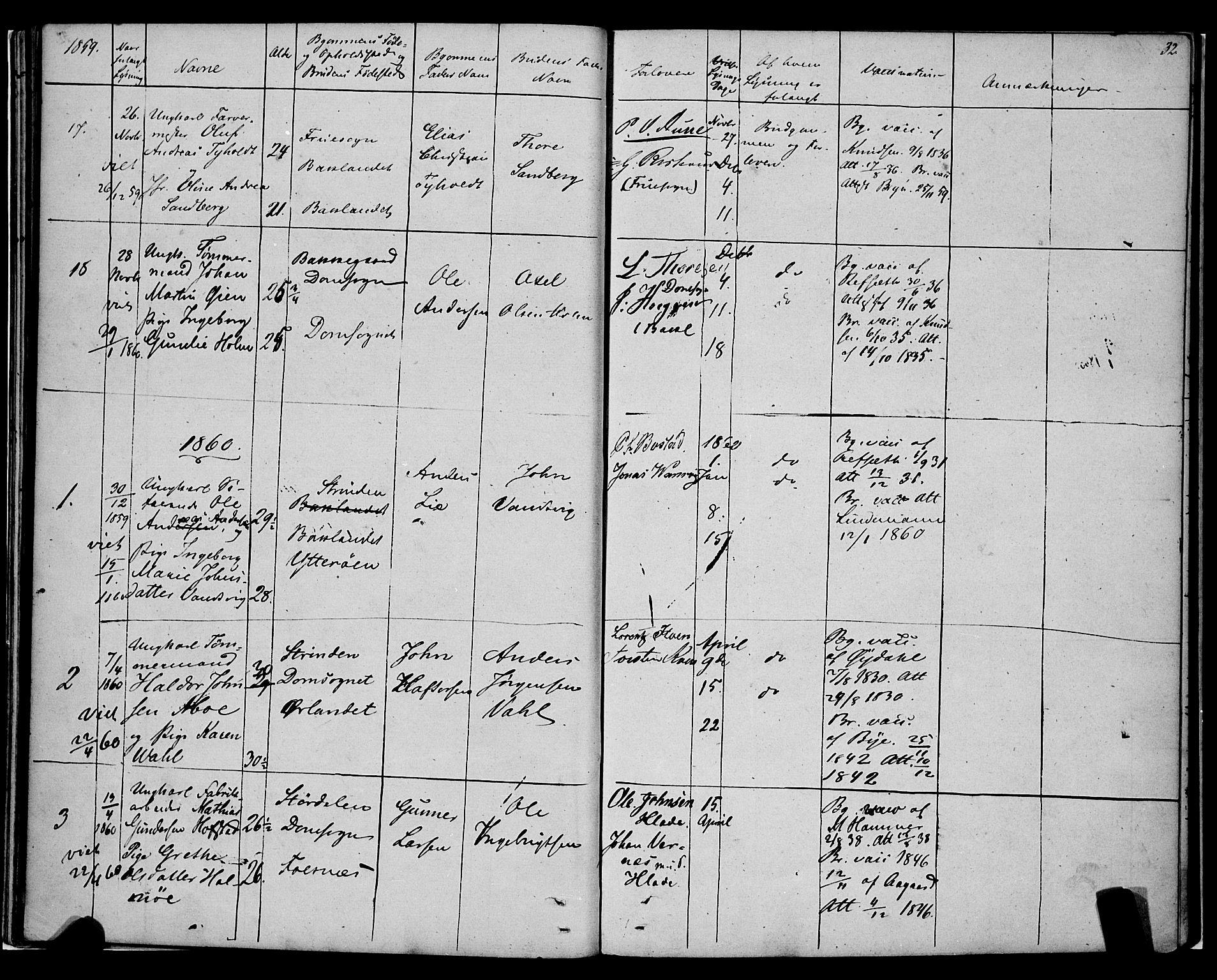 SAT, Ministerialprotokoller, klokkerbøker og fødselsregistre - Sør-Trøndelag, 604/L0187: Ministerialbok nr. 604A08, 1847-1878, s. 32