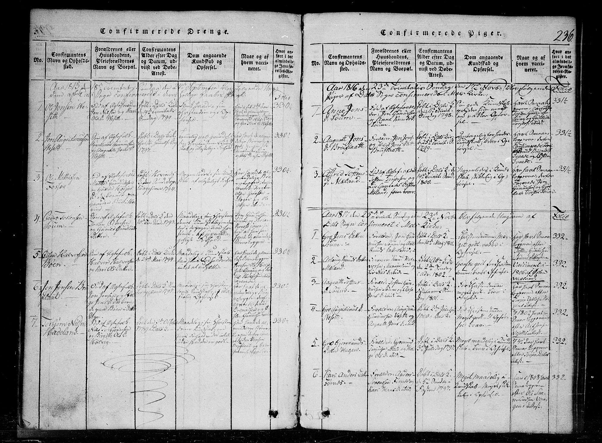 SAKO, Tinn kirkebøker, G/Gc/L0001: Klokkerbok nr. III 1, 1815-1879, s. 236
