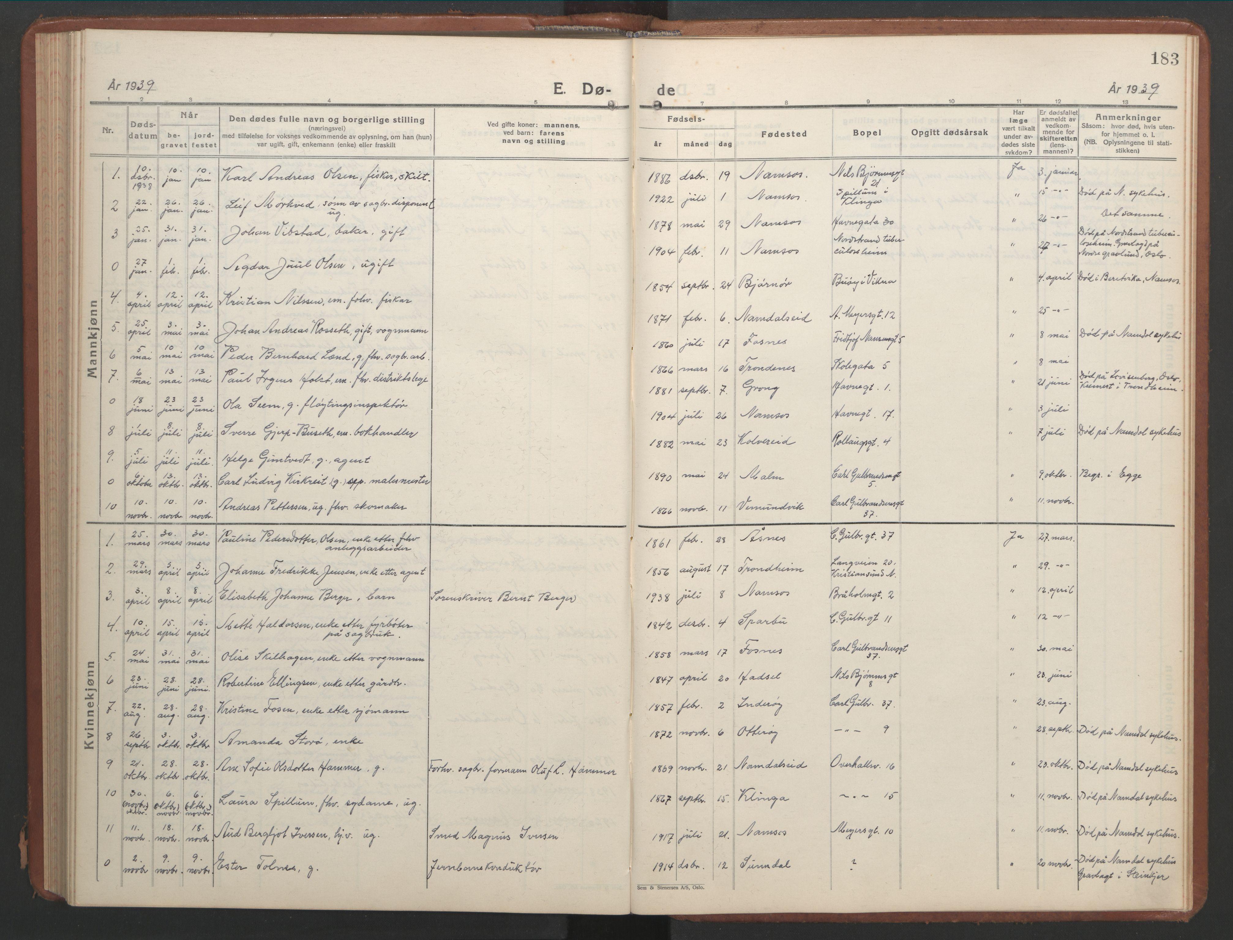 SAT, Ministerialprotokoller, klokkerbøker og fødselsregistre - Nord-Trøndelag, 768/L0583: Klokkerbok nr. 768C01, 1928-1953, s. 183