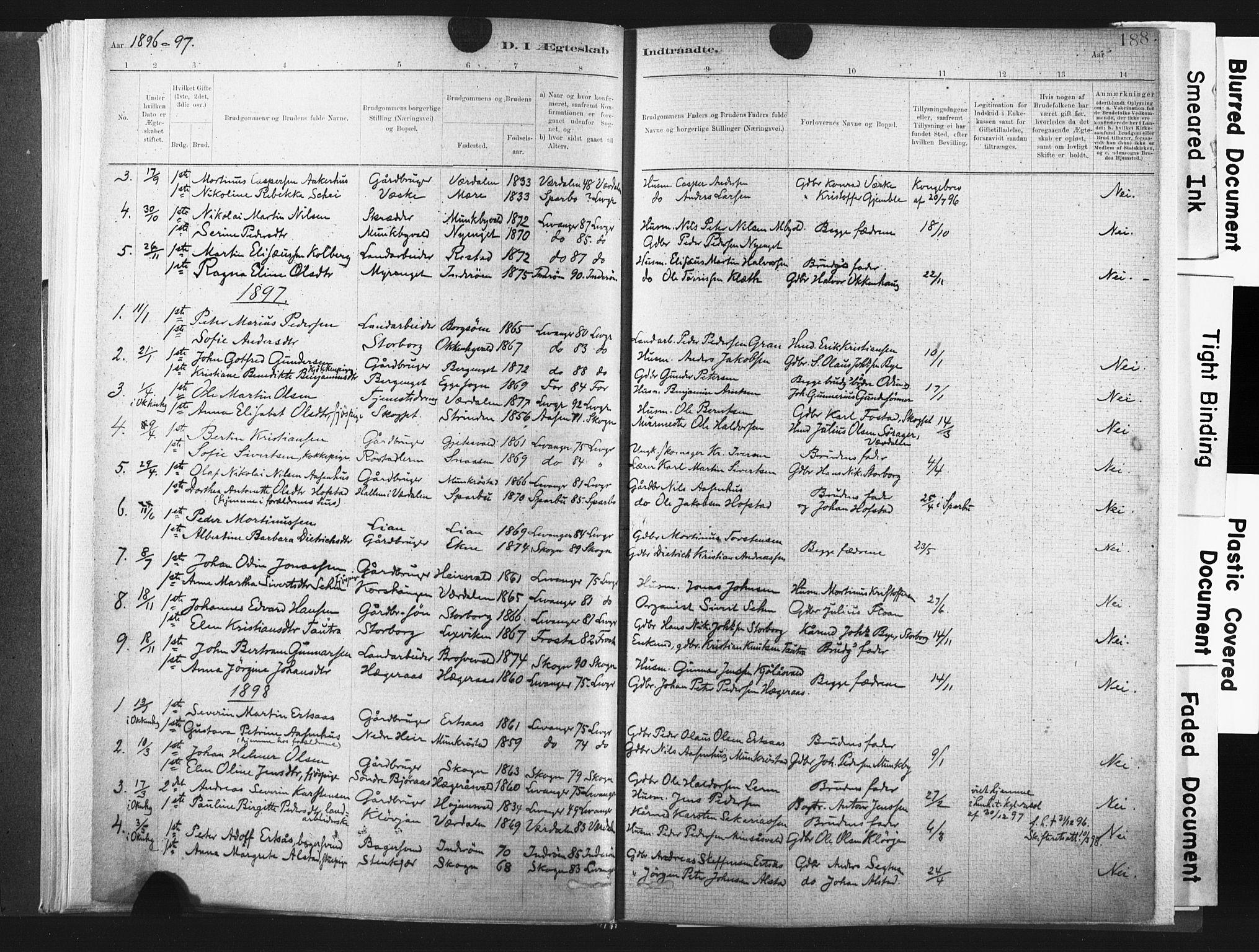 SAT, Ministerialprotokoller, klokkerbøker og fødselsregistre - Nord-Trøndelag, 721/L0207: Ministerialbok nr. 721A02, 1880-1911, s. 188