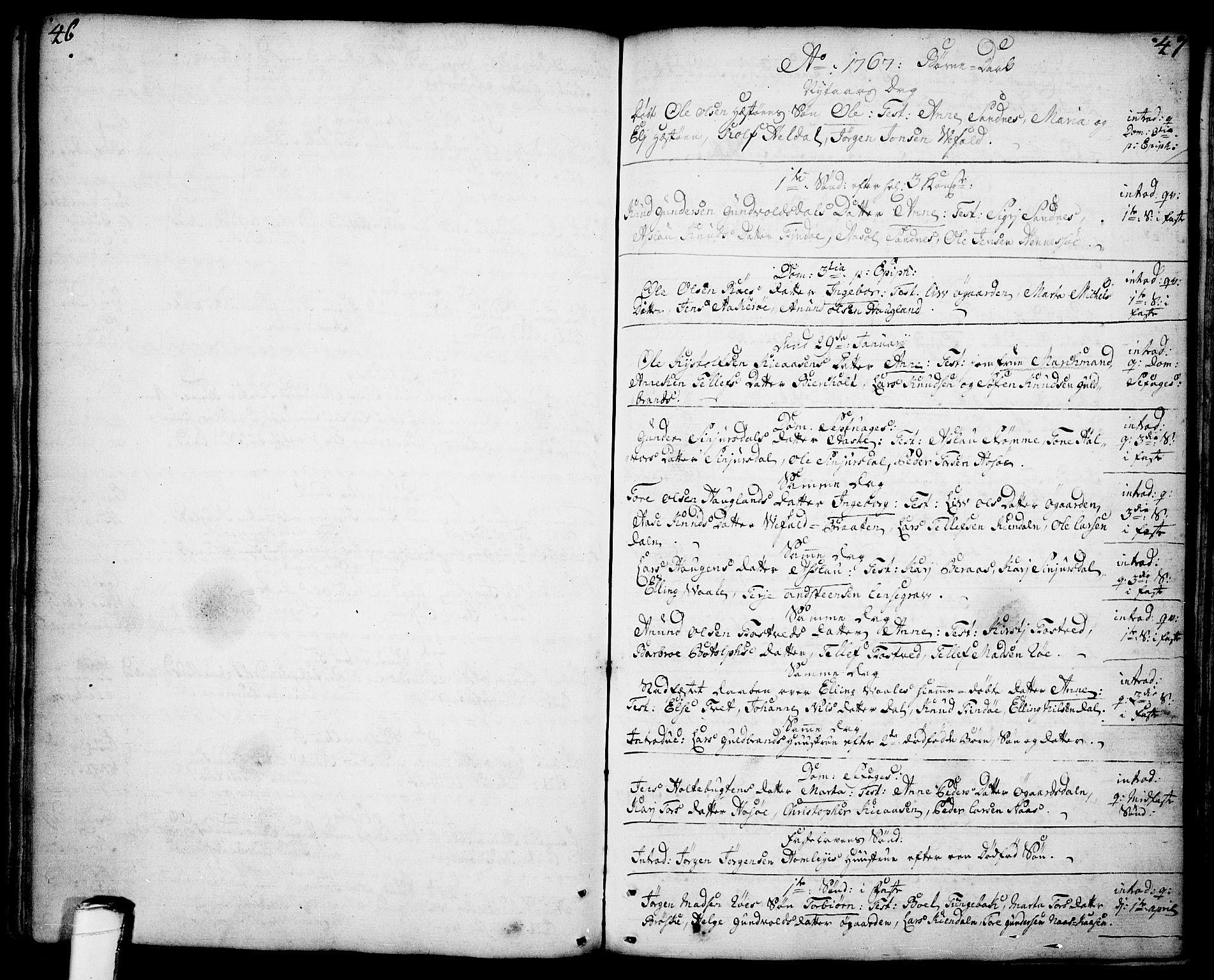 SAKO, Drangedal kirkebøker, F/Fa/L0001: Ministerialbok nr. 1, 1697-1767, s. 46-47