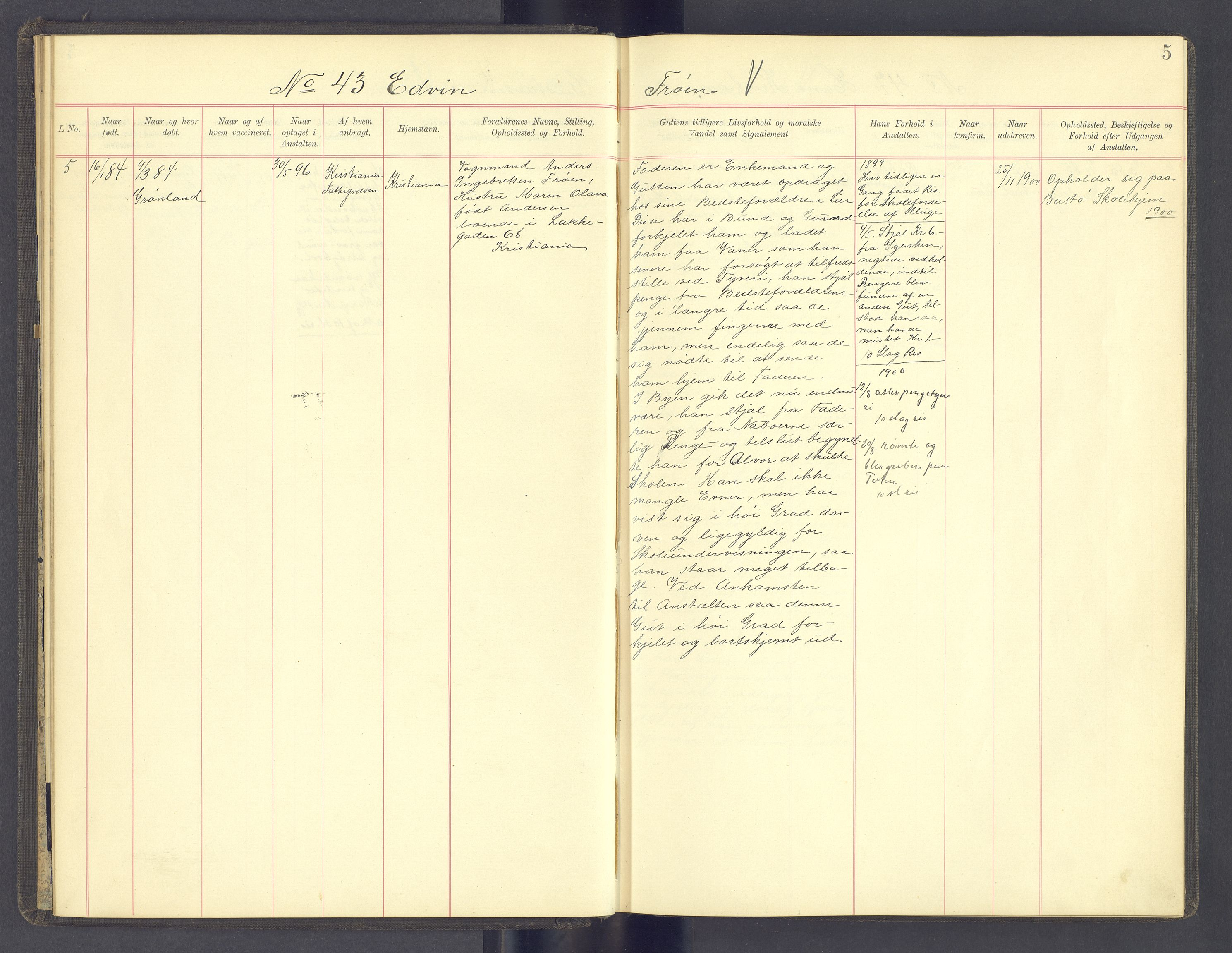 SAH, Toftes Gave, F/Fc/L0005: Elevprotokoll, 1897-1900, s. 5