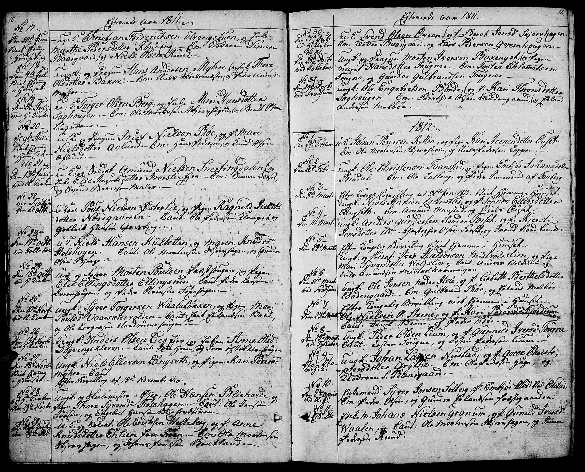 SAH, Gausdal prestekontor, Ministerialbok nr. 4, 1809-1817, s. 10-11