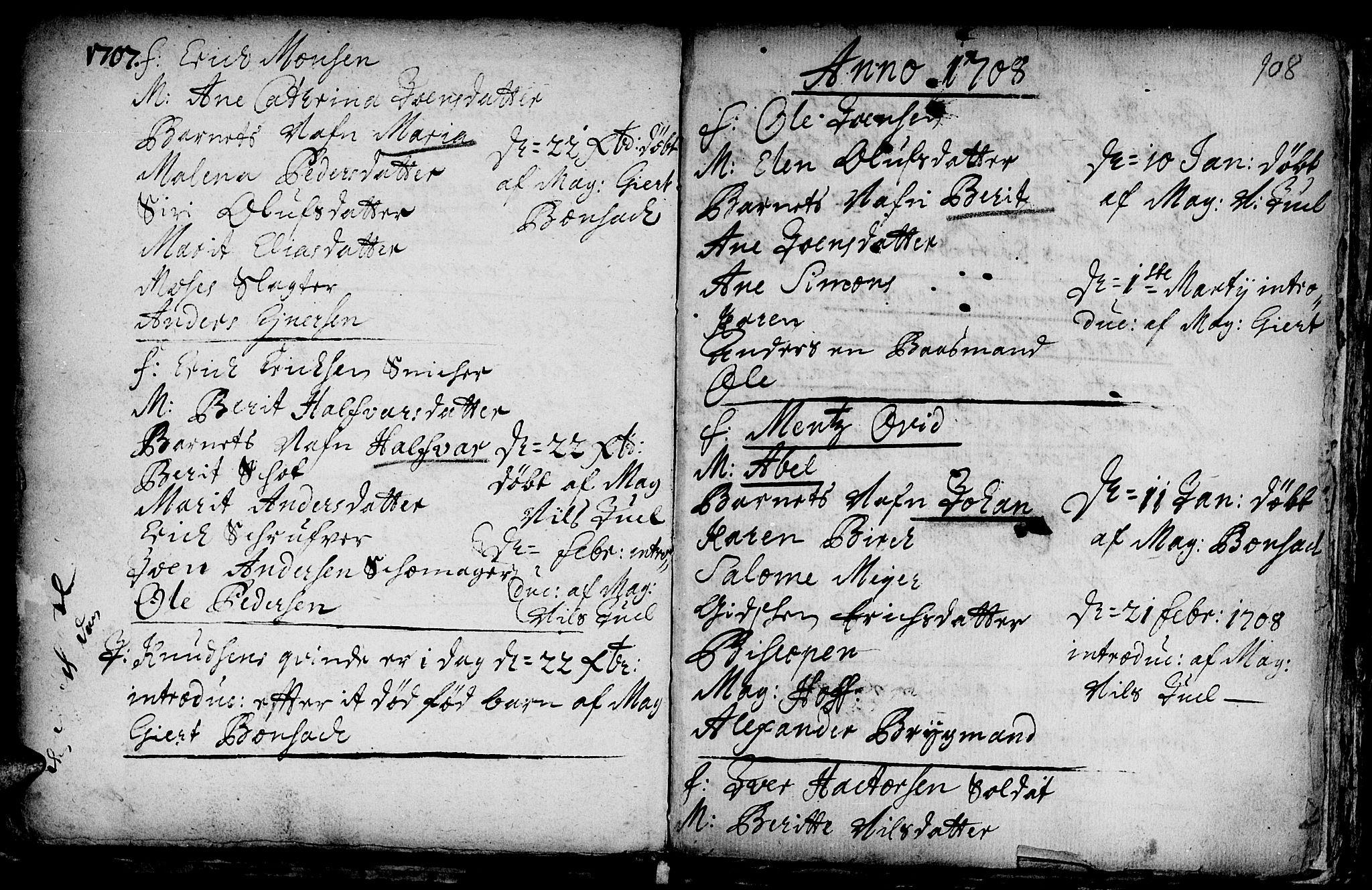 SAT, Ministerialprotokoller, klokkerbøker og fødselsregistre - Sør-Trøndelag, 601/L0034: Ministerialbok nr. 601A02, 1702-1714, s. 108
