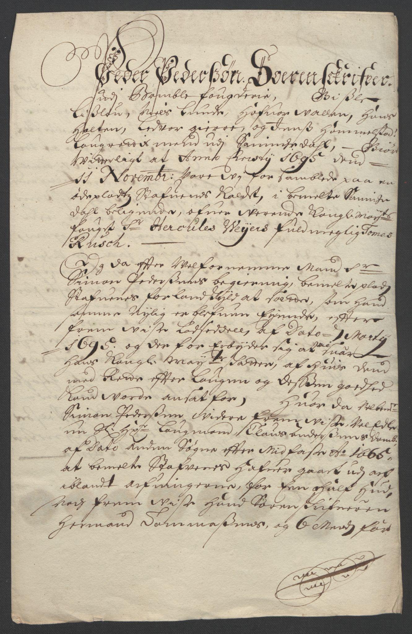 RA, Rentekammeret inntil 1814, Reviderte regnskaper, Fogderegnskap, R36/L2093: Fogderegnskap Øvre og Nedre Telemark og Bamble, 1695, s. 443
