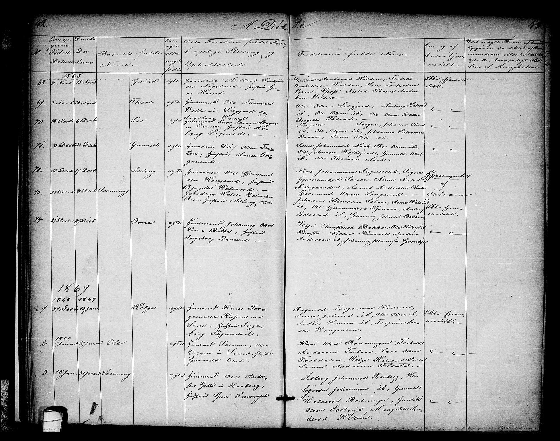 SAKO, Heddal kirkebøker, G/Ga/L0001: Klokkerbok nr. I 1, 1866-1878, s. 42-43