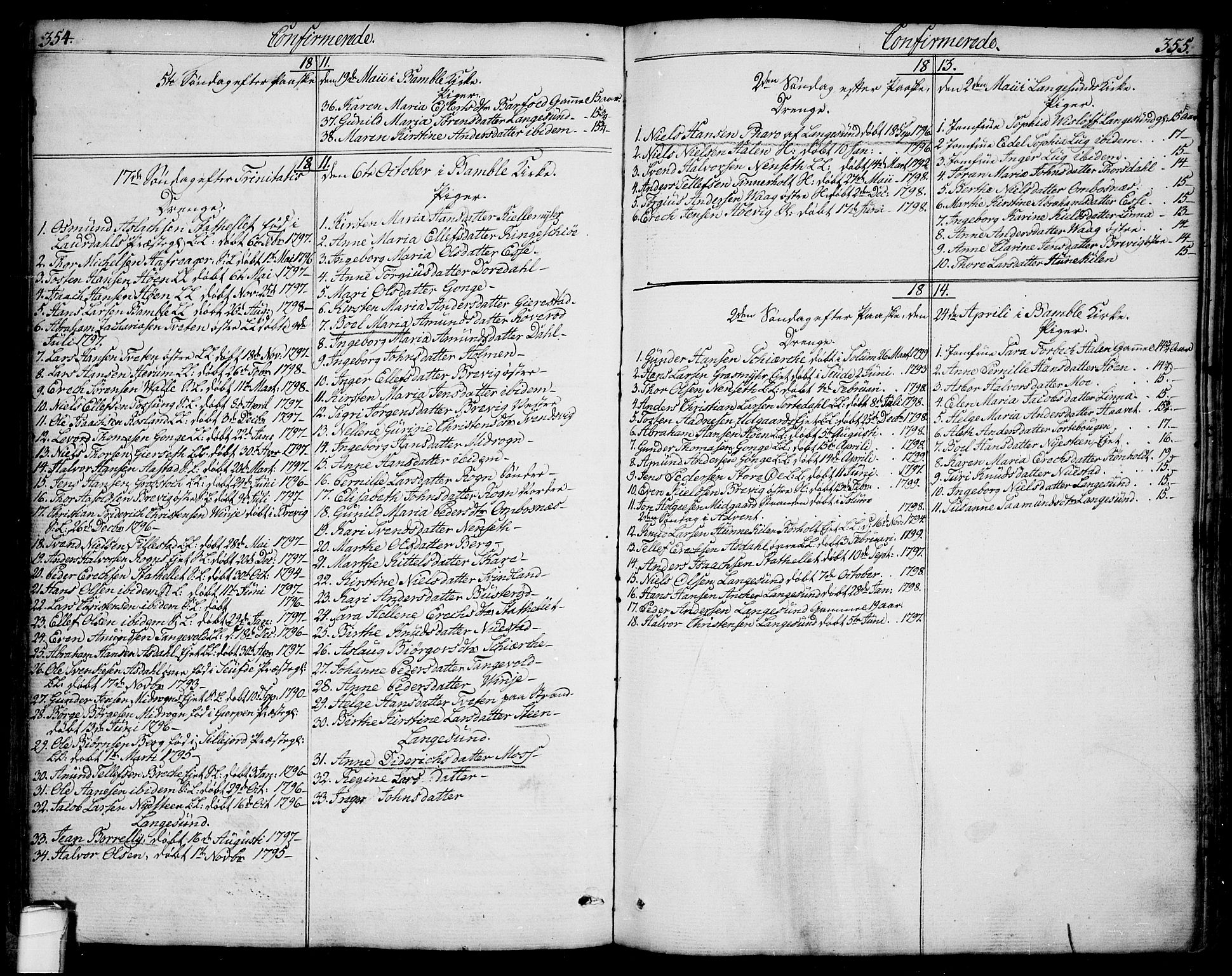 SAKO, Bamble kirkebøker, F/Fa/L0002: Ministerialbok nr. I 2, 1775-1814, s. 354-355