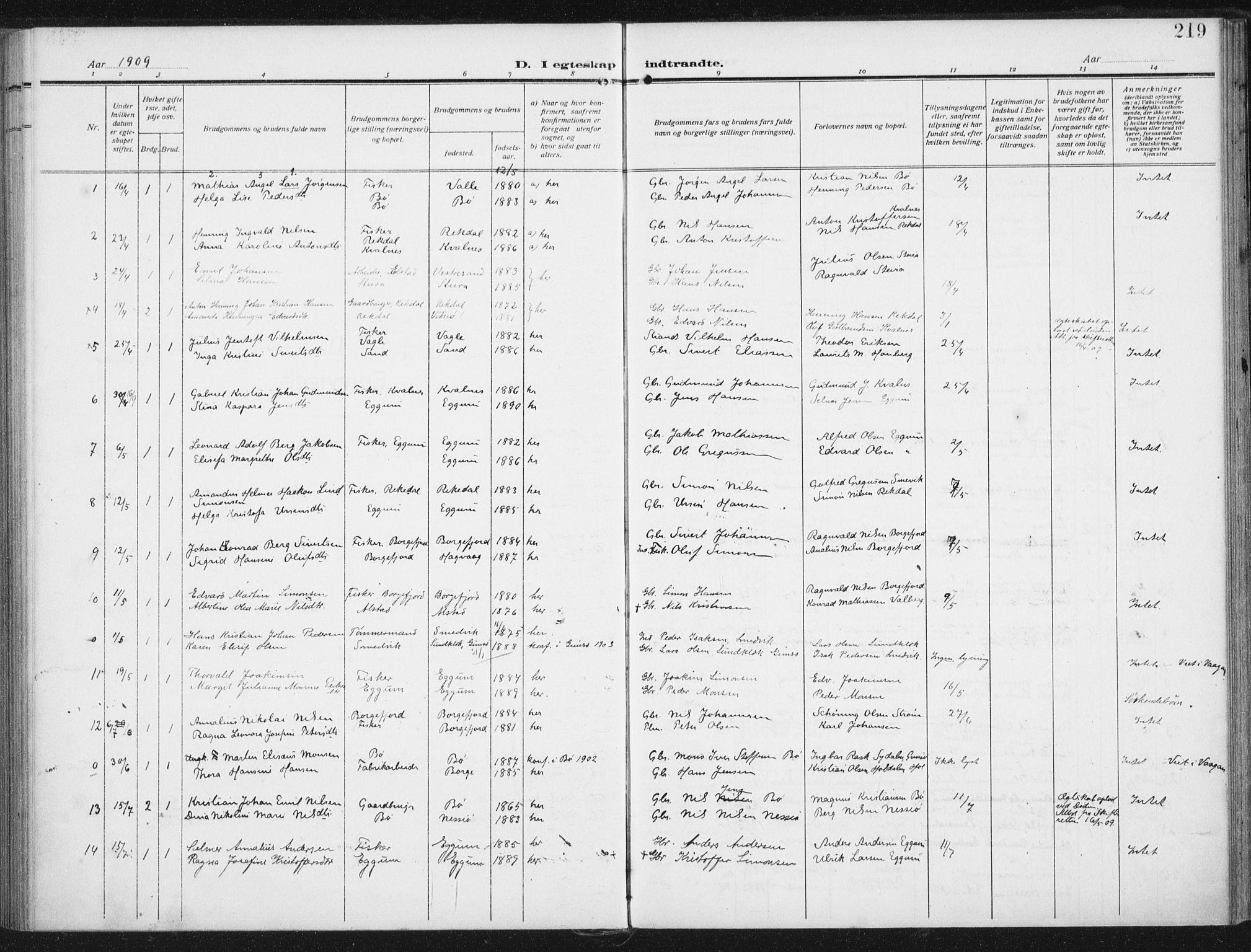 SAT, Ministerialprotokoller, klokkerbøker og fødselsregistre - Nordland, 880/L1135: Ministerialbok nr. 880A09, 1908-1919, s. 219