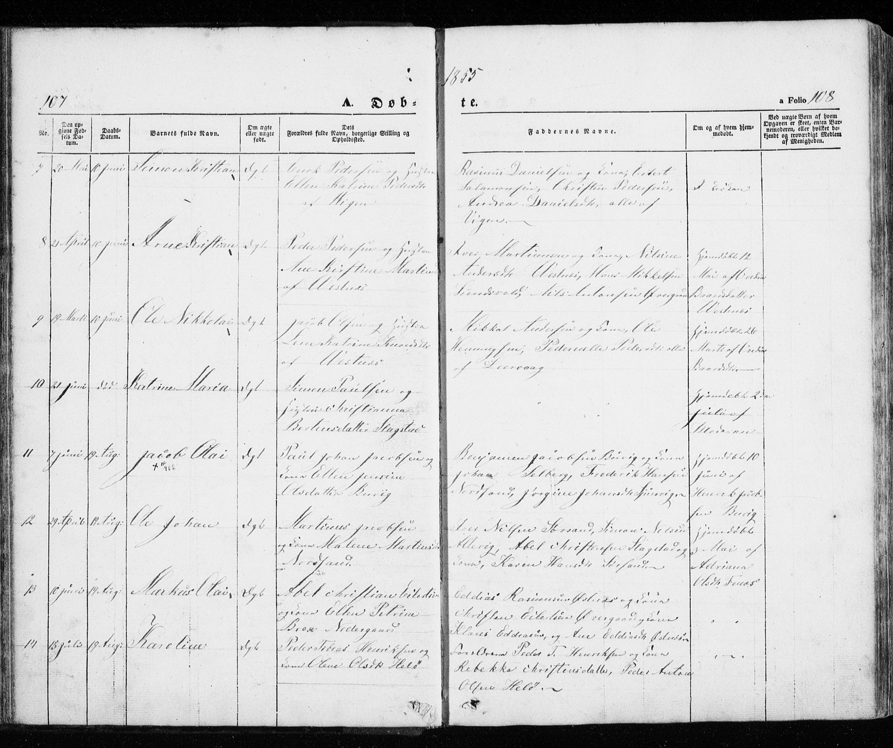 SATØ, Trondenes sokneprestkontor, H/Ha/L0010kirke: Ministerialbok nr. 10, 1840-1865, s. 107-108