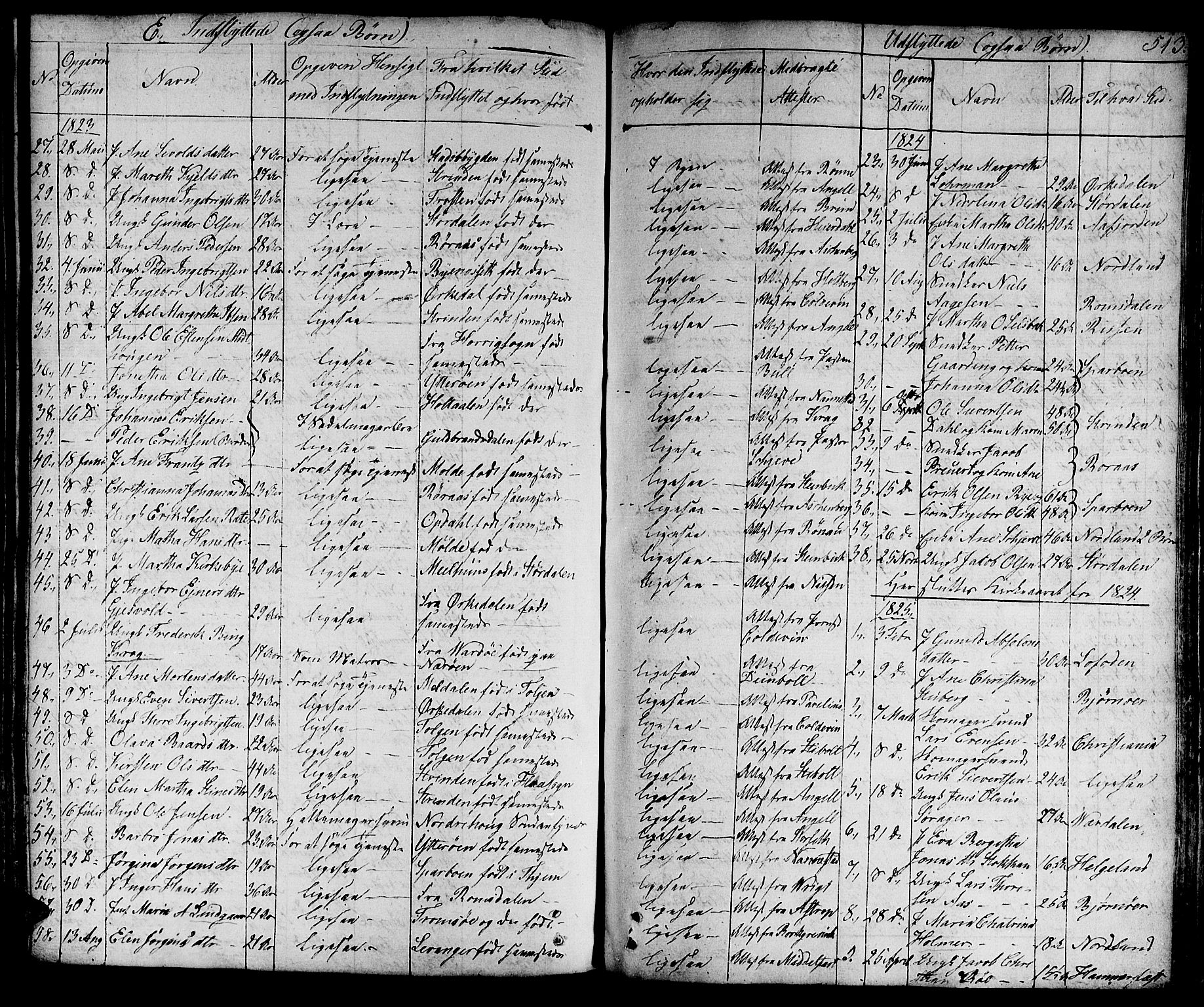 SAT, Ministerialprotokoller, klokkerbøker og fødselsregistre - Sør-Trøndelag, 601/L0045: Ministerialbok nr. 601A13, 1821-1831, s. 513