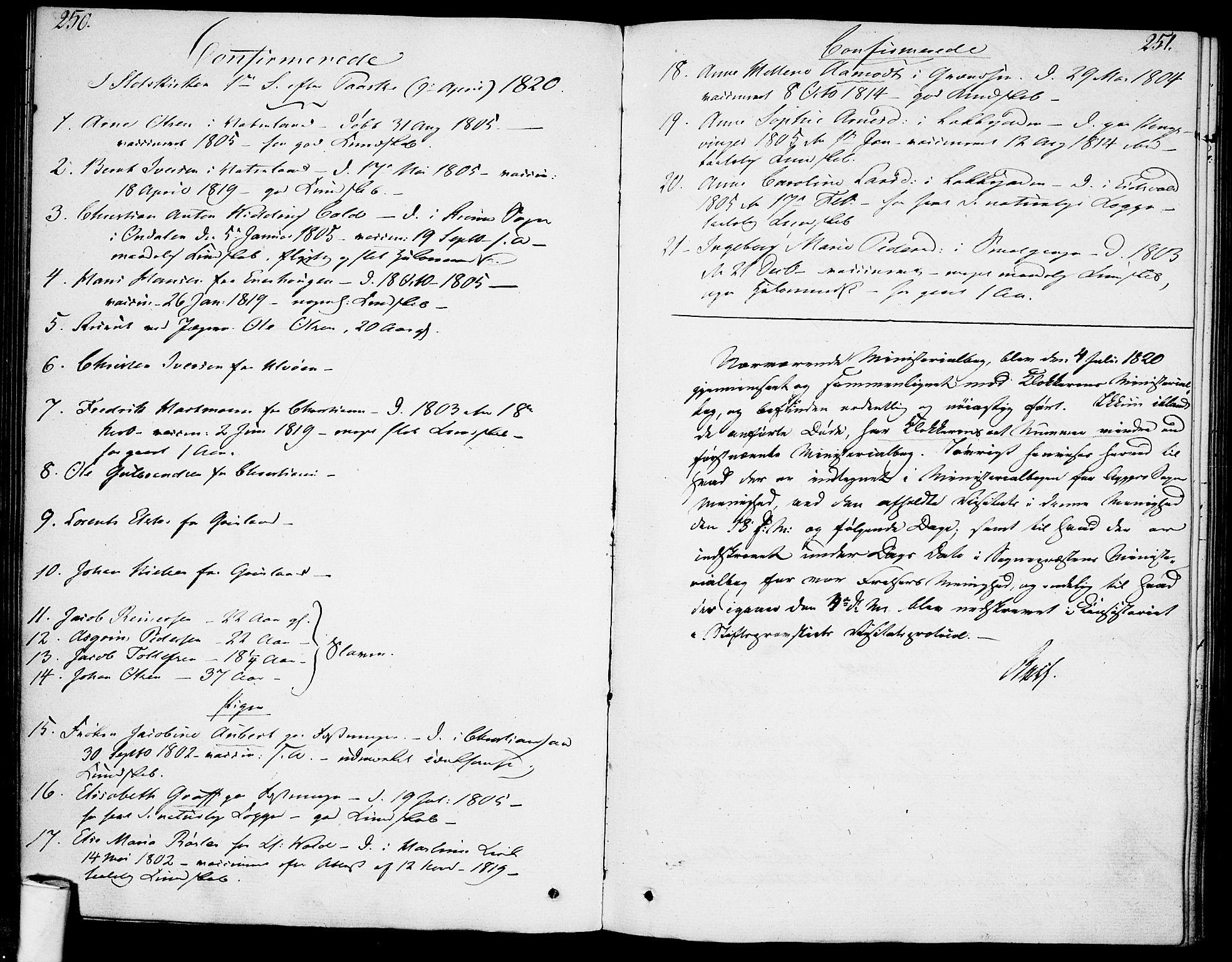 SAO, Garnisonsmenigheten Kirkebøker, F/Fa/L0004: Ministerialbok nr. 4, 1820-1828, s. 250-251