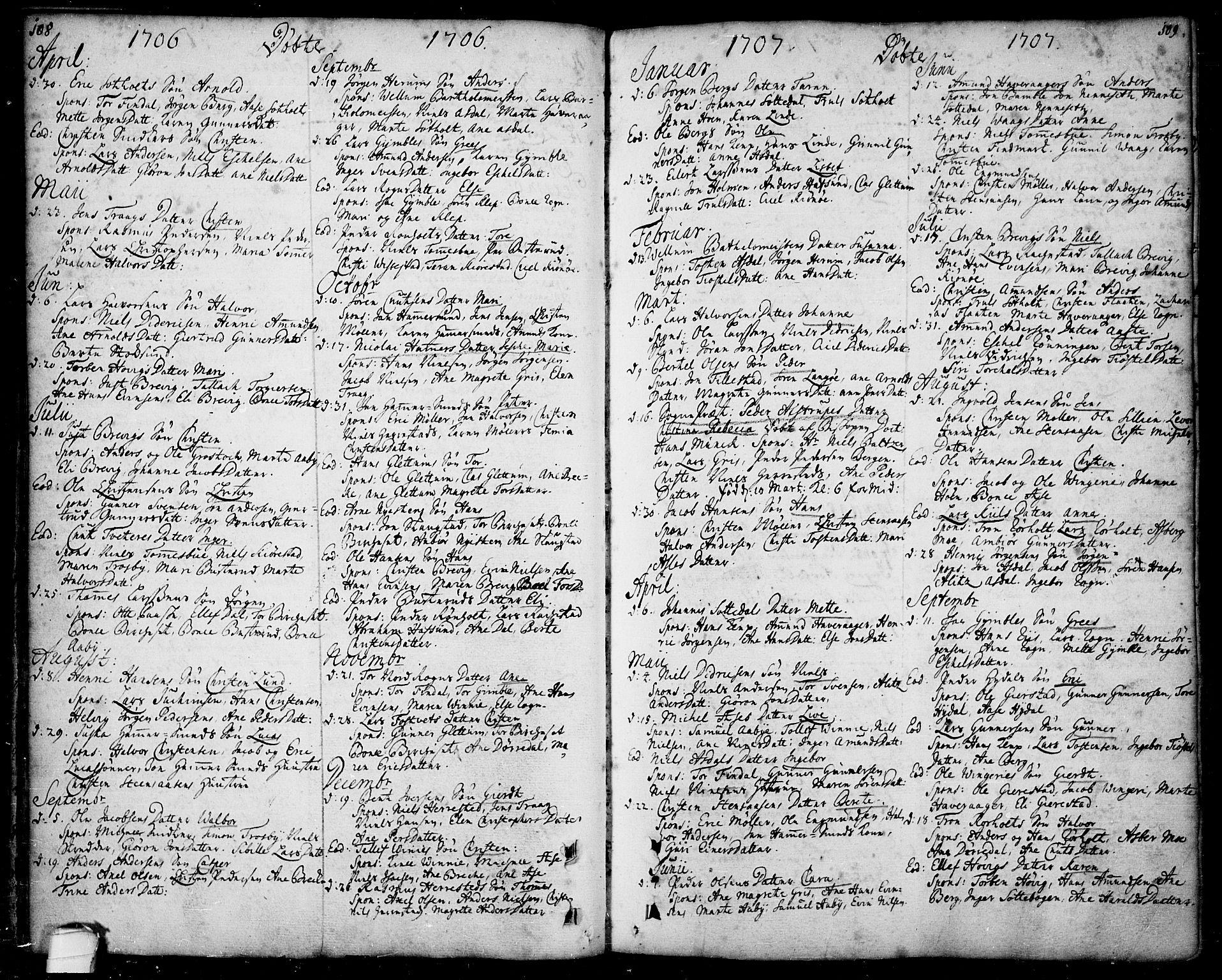 SAKO, Bamble kirkebøker, F/Fa/L0001: Ministerialbok nr. I 1, 1702-1774, s. 108-109