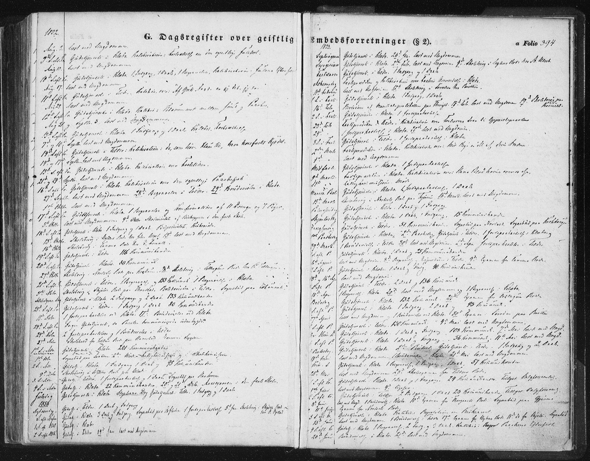 SAT, Ministerialprotokoller, klokkerbøker og fødselsregistre - Sør-Trøndelag, 618/L0441: Ministerialbok nr. 618A05, 1843-1862, s. 394