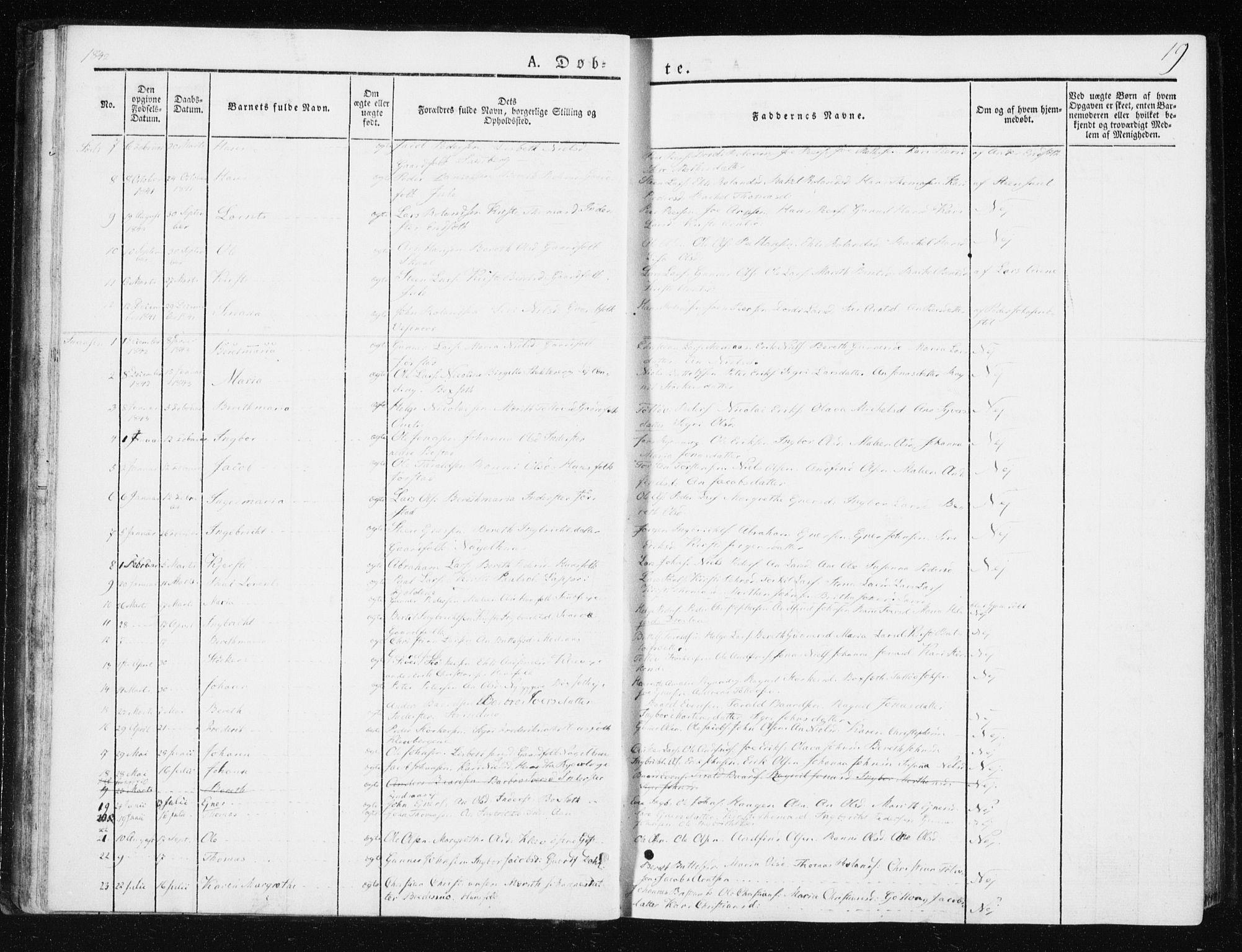 SAT, Ministerialprotokoller, klokkerbøker og fødselsregistre - Nord-Trøndelag, 749/L0470: Ministerialbok nr. 749A04, 1834-1853, s. 19