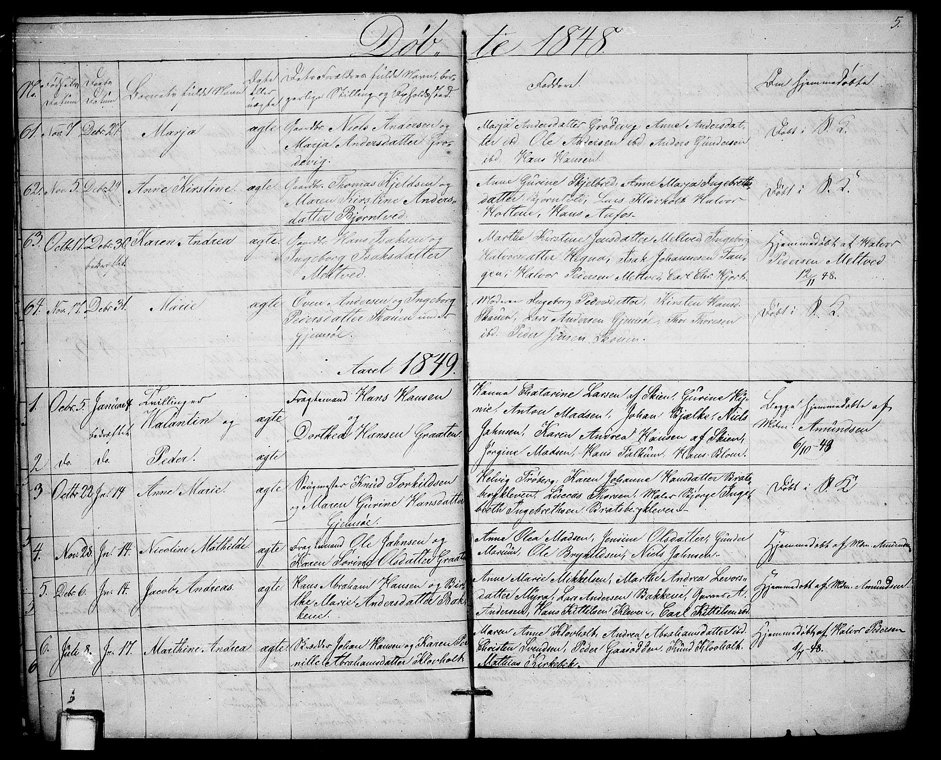 SAKO, Solum kirkebøker, G/Ga/L0003: Klokkerbok nr. I 3, 1848-1859, s. 5