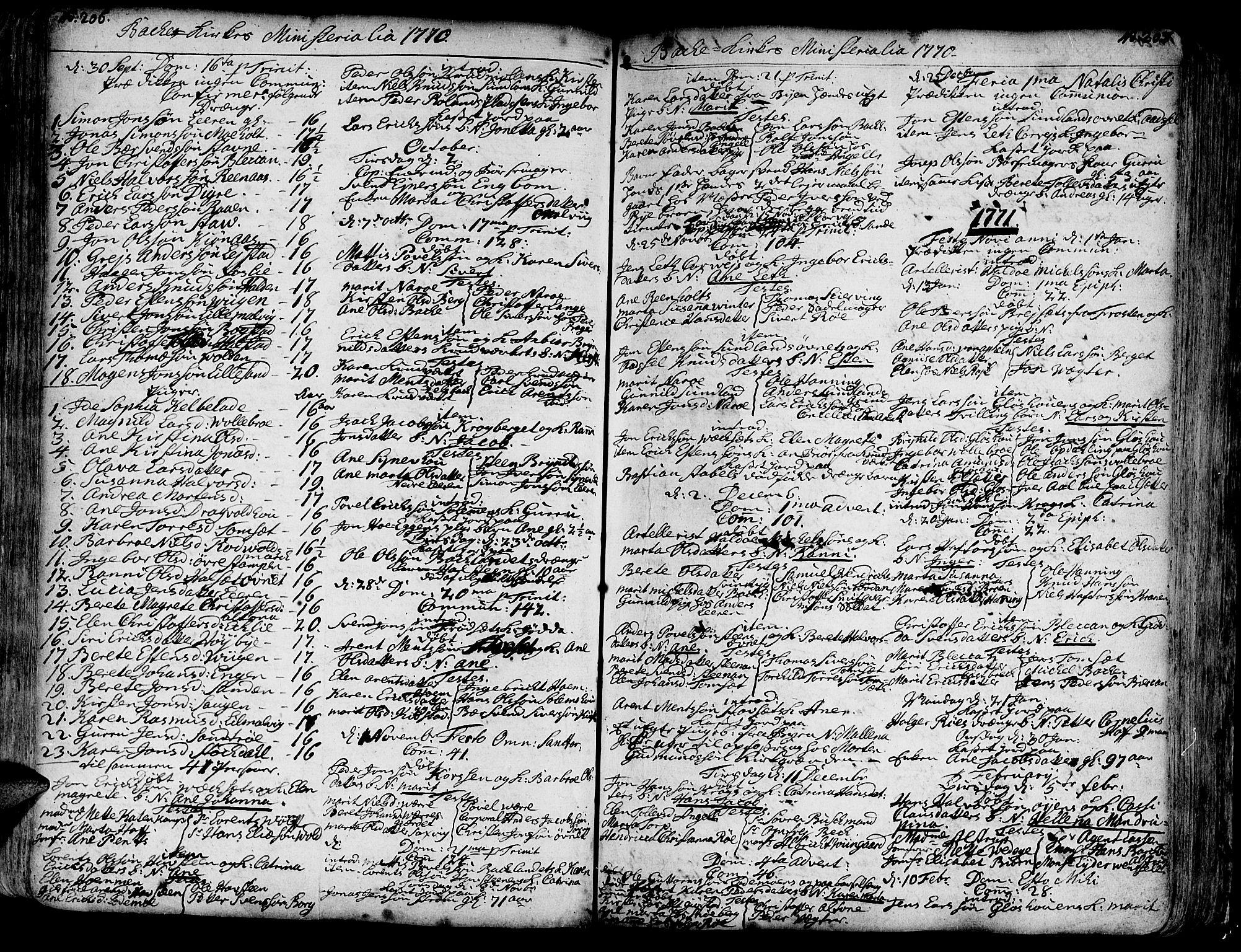 SAT, Ministerialprotokoller, klokkerbøker og fødselsregistre - Sør-Trøndelag, 606/L0276: Ministerialbok nr. 606A01 /2, 1727-1779, s. 206-207