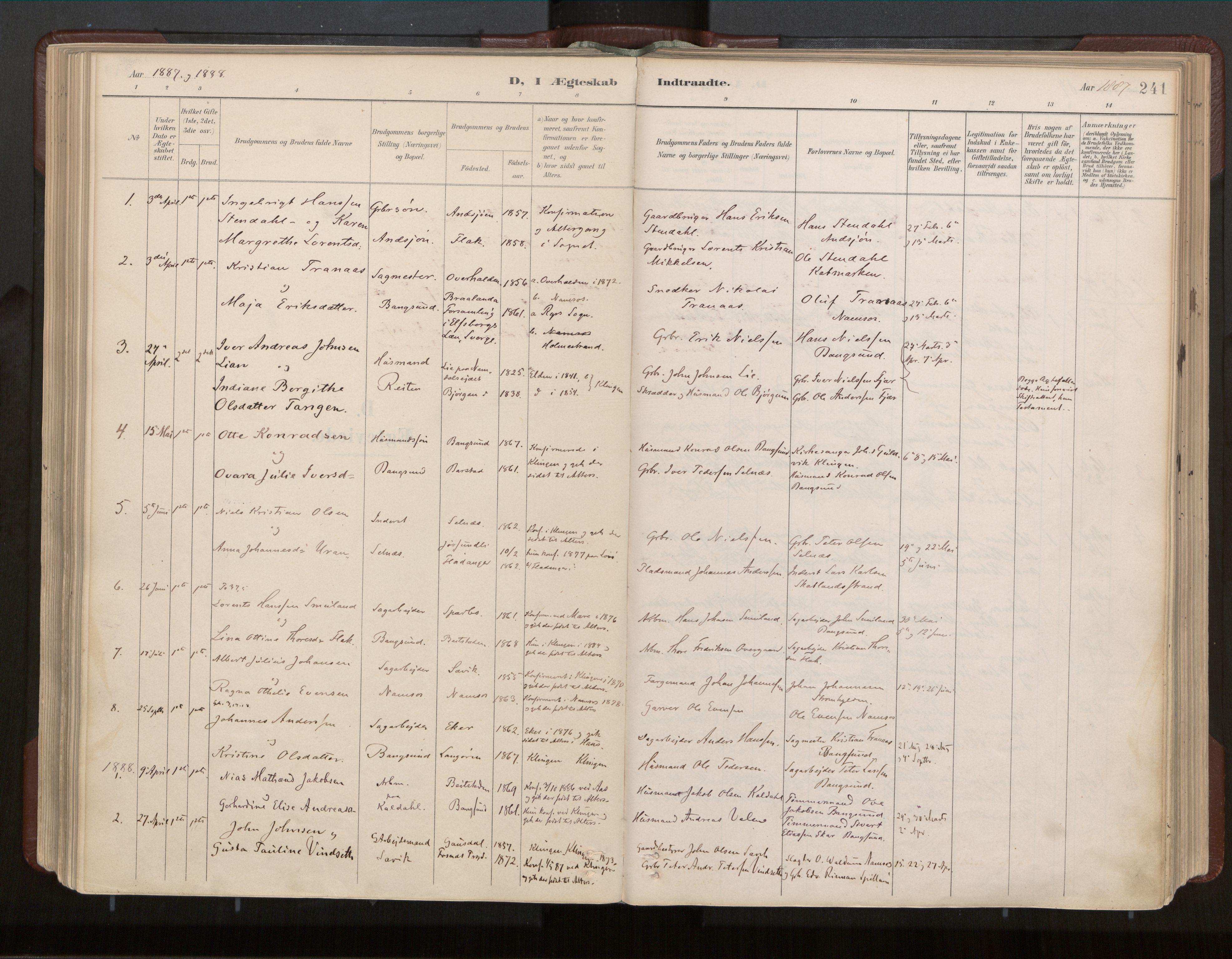 SAT, Ministerialprotokoller, klokkerbøker og fødselsregistre - Nord-Trøndelag, 770/L0589: Ministerialbok nr. 770A03, 1887-1929, s. 241