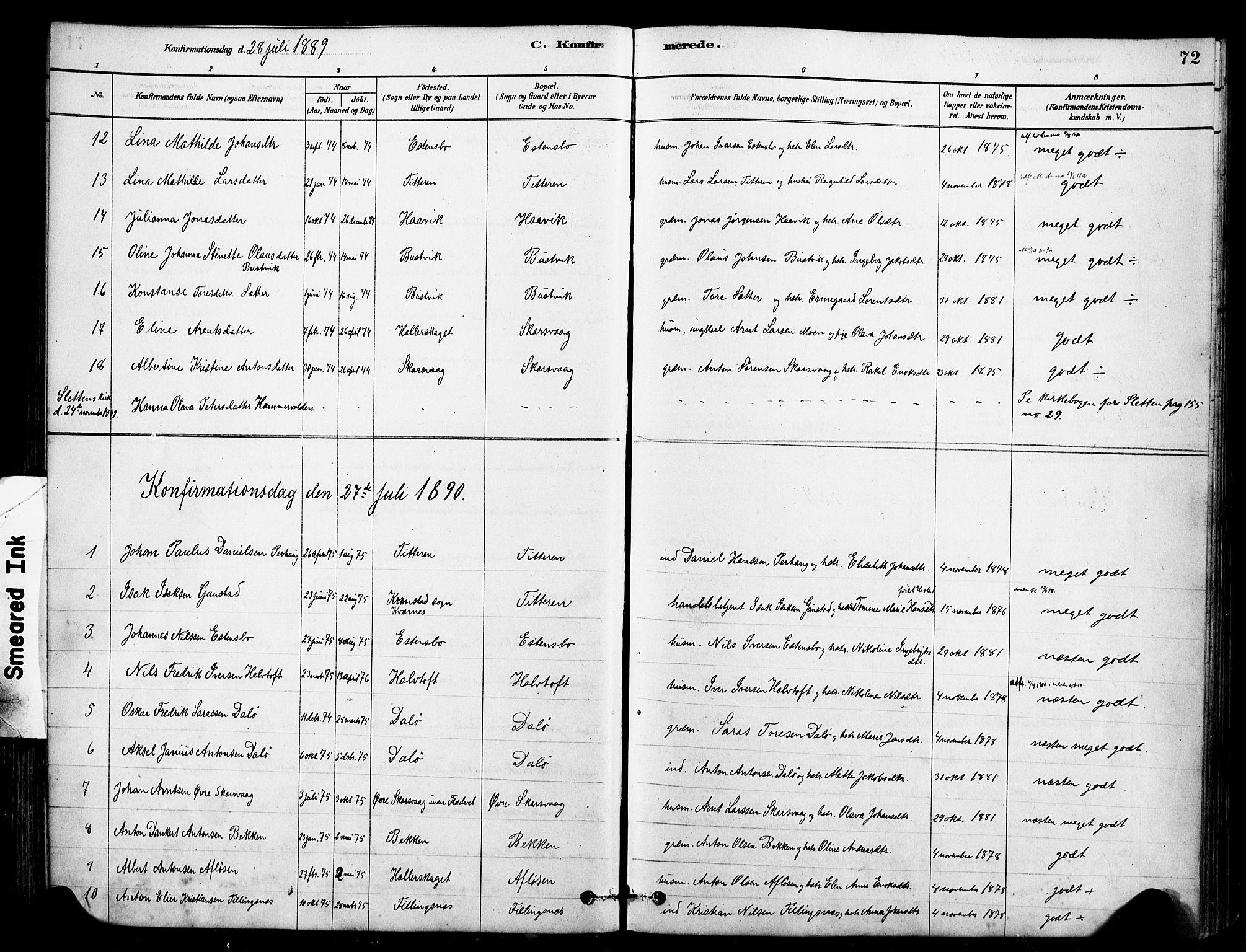 SAT, Ministerialprotokoller, klokkerbøker og fødselsregistre - Sør-Trøndelag, 641/L0595: Ministerialbok nr. 641A01, 1882-1897, s. 72