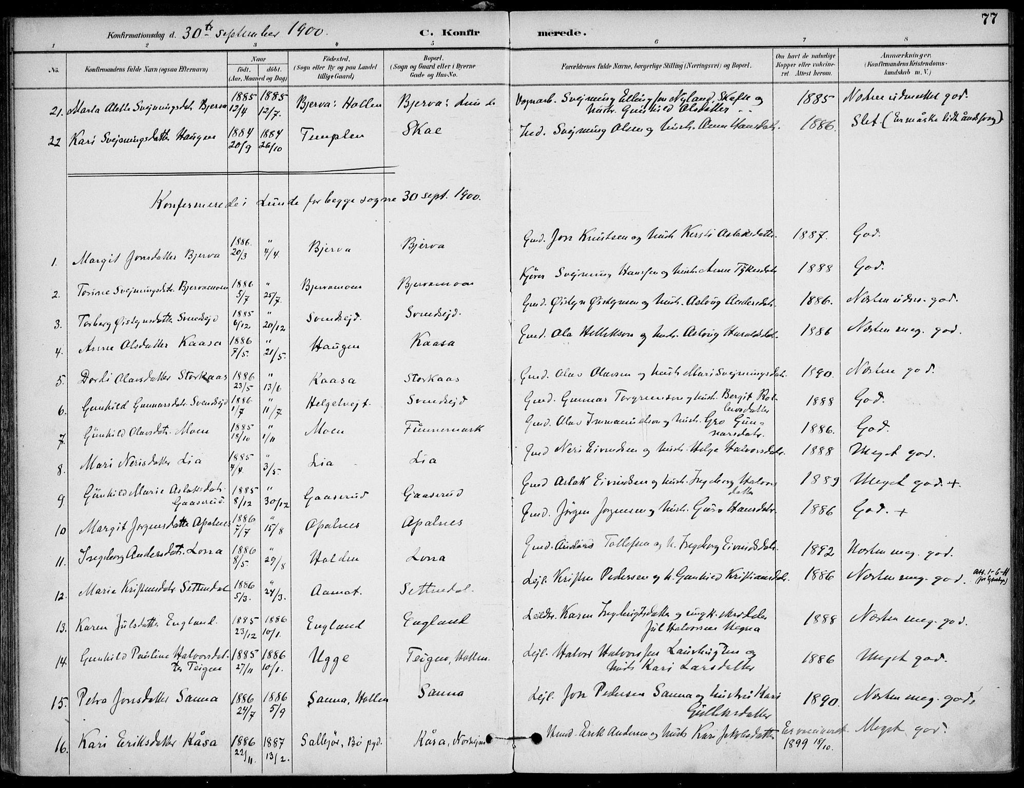 SAKO, Lunde kirkebøker, F/Fa/L0003: Ministerialbok nr. I 3, 1893-1902, s. 77