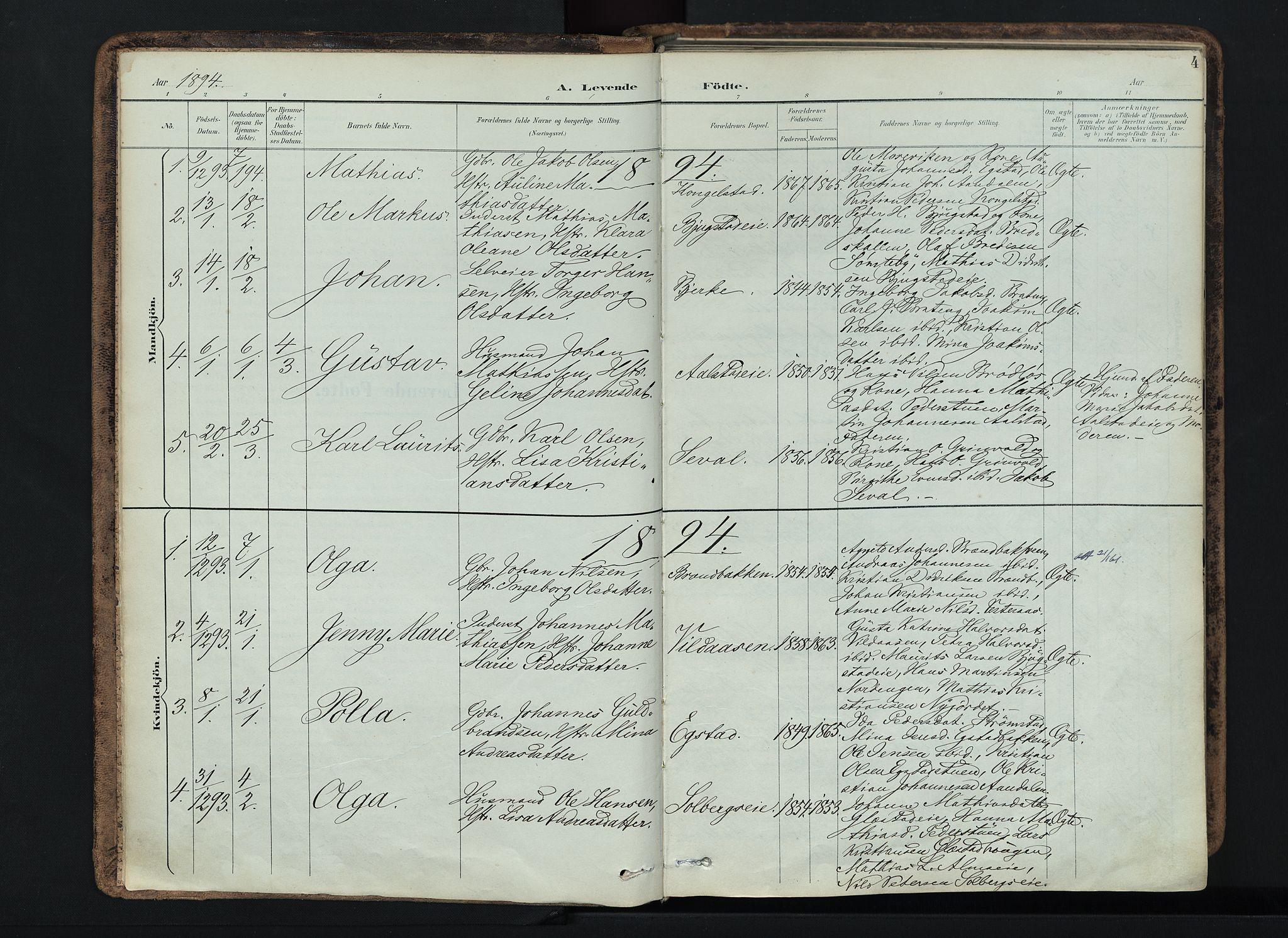SAH, Vardal prestekontor, H/Ha/Haa/L0019: Ministerialbok nr. 19, 1893-1907, s. 4