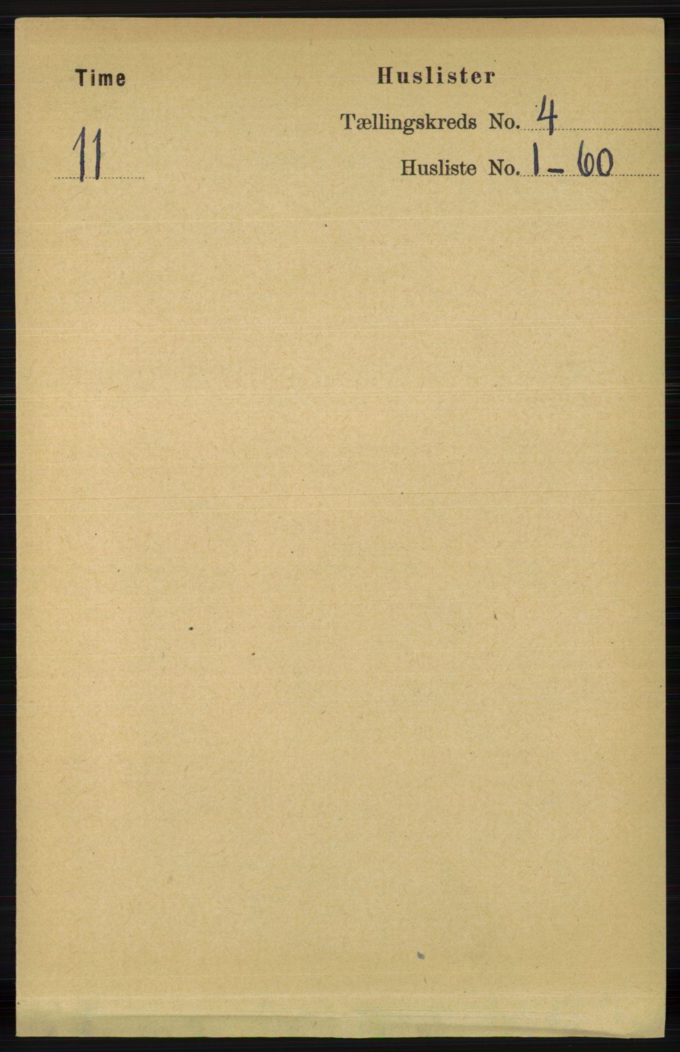RA, Folketelling 1891 for 1121 Time herred, 1891, s. 1301