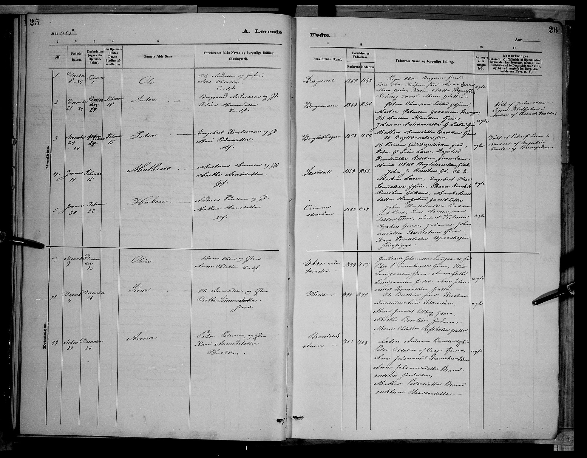SAH, Sør-Fron prestekontor, H/Ha/Hab/L0003: Klokkerbok nr. 3, 1884-1896, s. 25-26