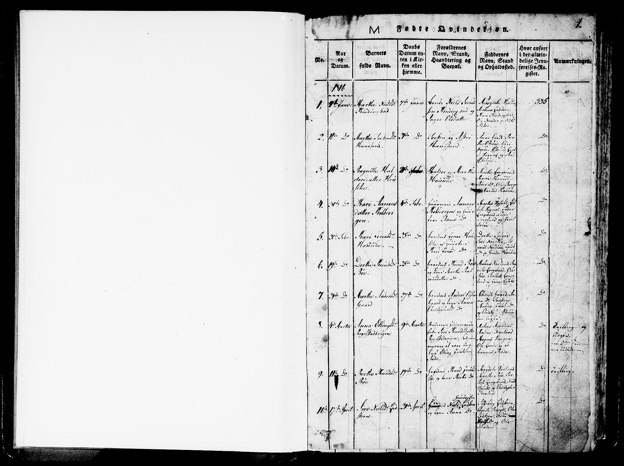 SAST, Finnøy sokneprestkontor, H/Ha/Haa/L0006: Ministerialbok nr. A 6, 1816-1846, s. 1