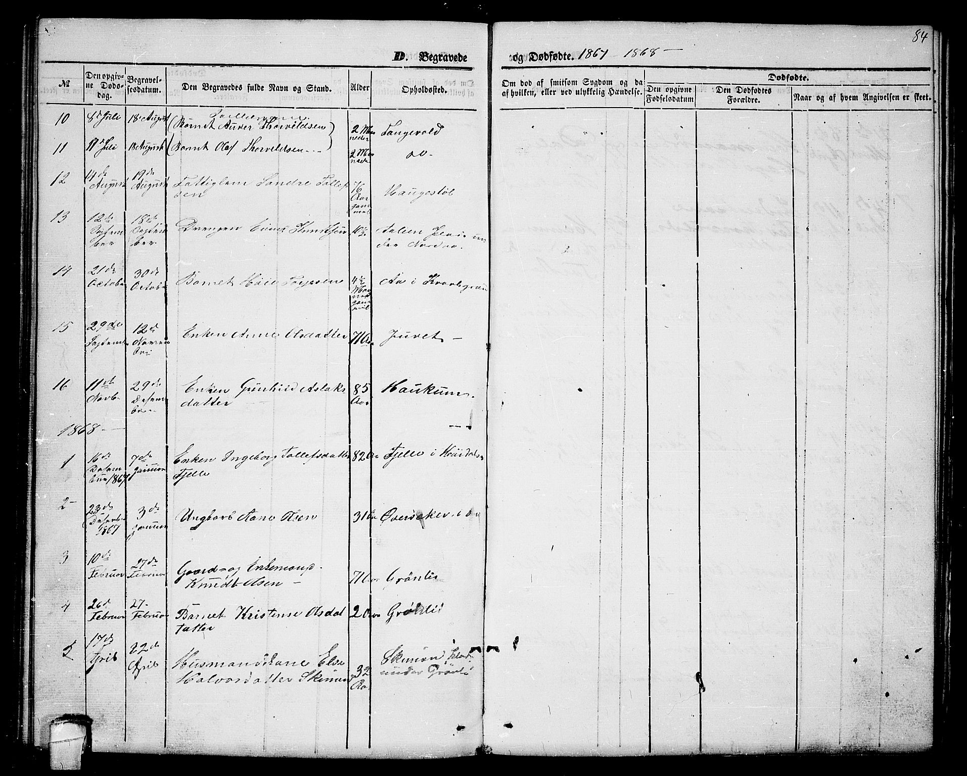 SAKO, Lårdal kirkebøker, G/Gc/L0002: Klokkerbok nr. III 2, 1852-1877, s. 84