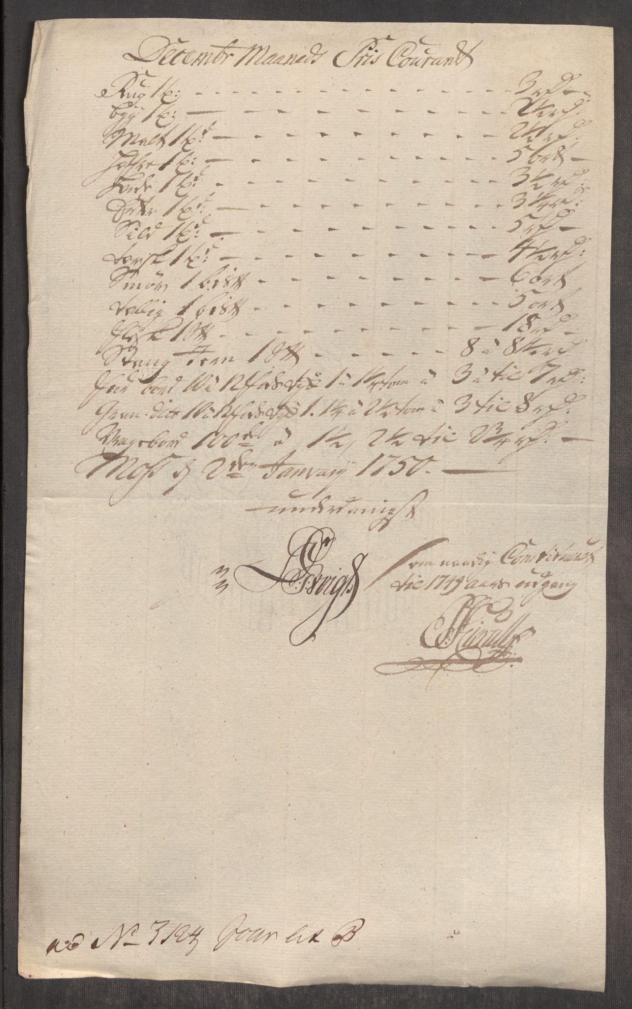 RA, Rentekammeret inntil 1814, Realistisk ordnet avdeling, Oe/L0004: [Ø1]: Priskuranter, 1749-1752, s. 241