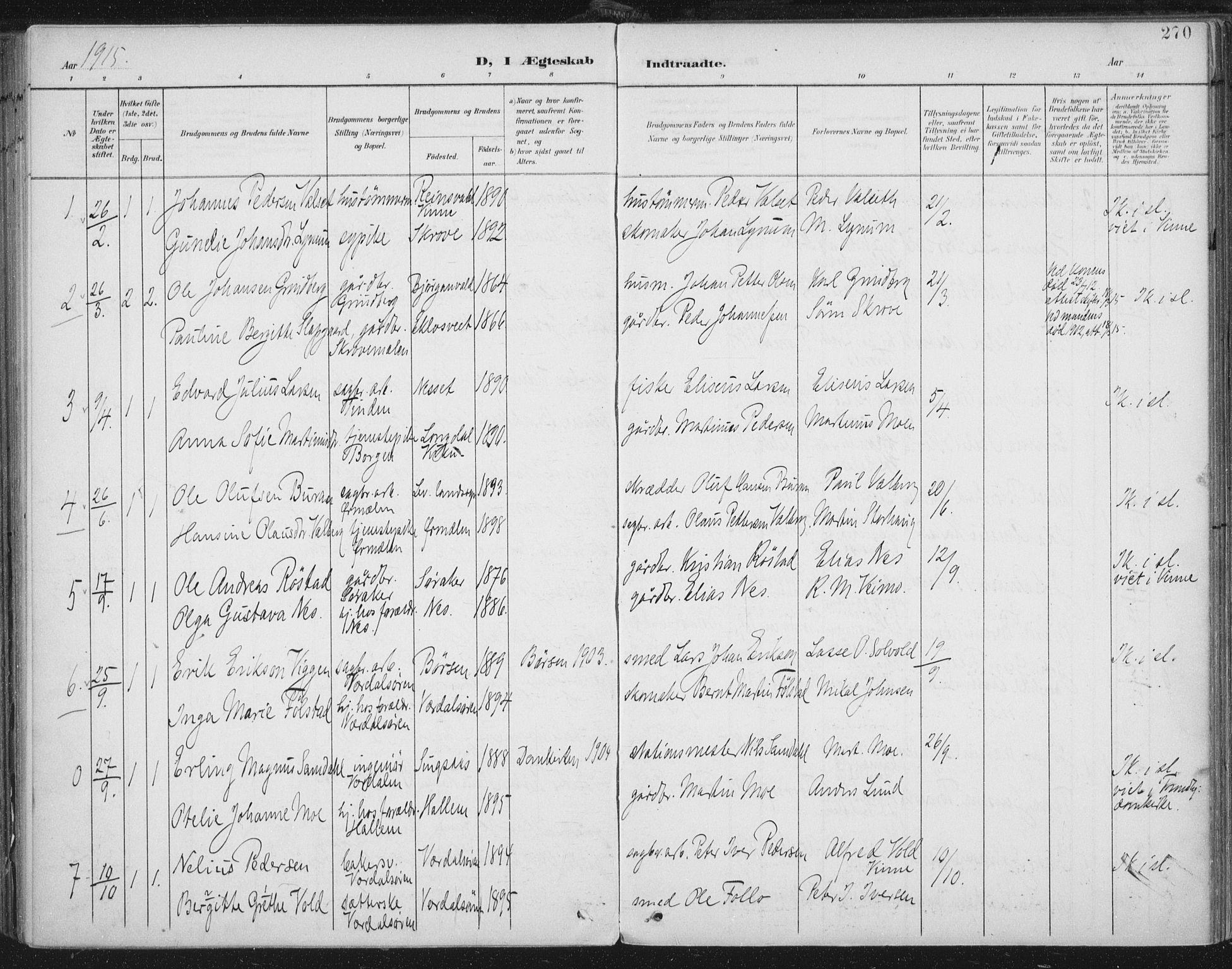 SAT, Ministerialprotokoller, klokkerbøker og fødselsregistre - Nord-Trøndelag, 723/L0246: Ministerialbok nr. 723A15, 1900-1917, s. 270