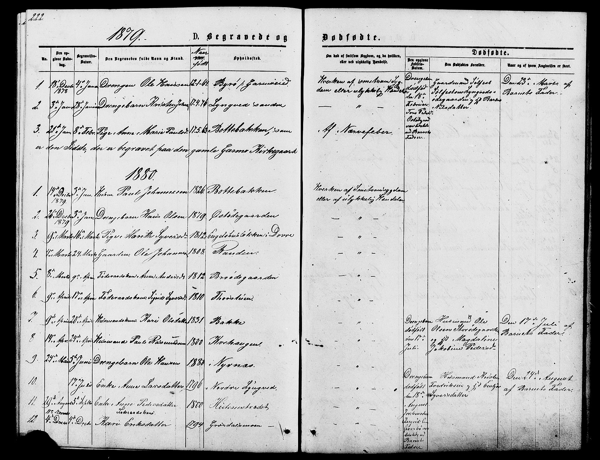 SAH, Lom prestekontor, L/L0005: Klokkerbok nr. 5, 1876-1901, s. 222-223