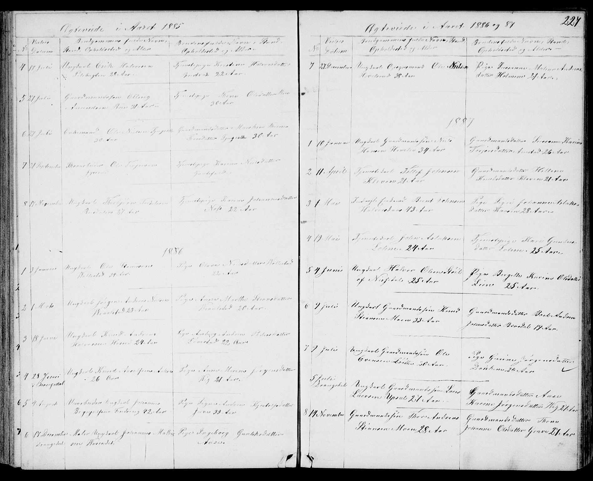 SAKO, Drangedal kirkebøker, G/Gb/L0001: Klokkerbok nr. II 1, 1856-1894, s. 227