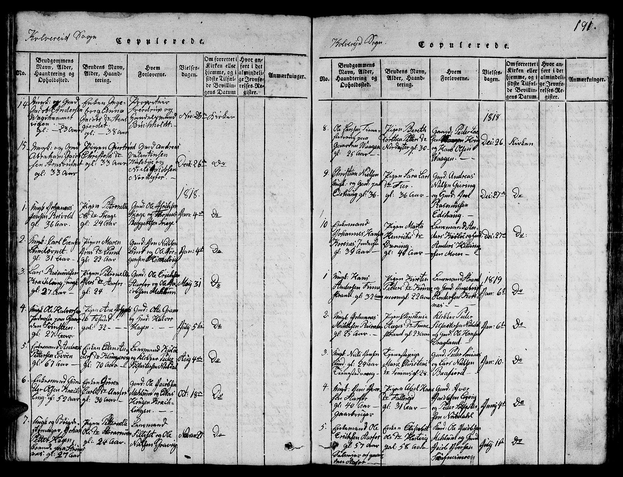 SAT, Ministerialprotokoller, klokkerbøker og fødselsregistre - Nord-Trøndelag, 780/L0648: Klokkerbok nr. 780C01 /1, 1815-1870, s. 191