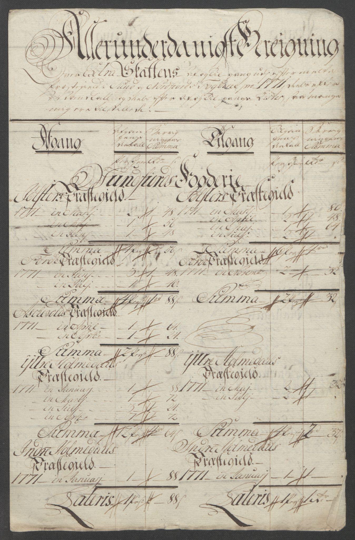 RA, Rentekammeret inntil 1814, Reviderte regnskaper, Fogderegnskap, R53/L3550: Ekstraskatten Sunn- og Nordfjord, 1762-1771, s. 341