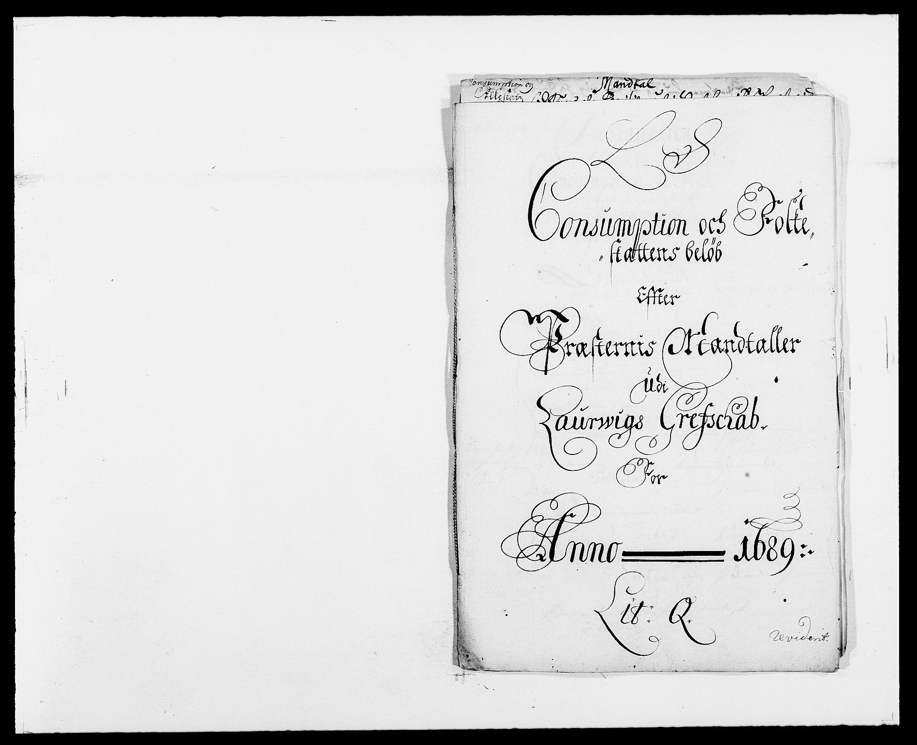 RA, Rentekammeret inntil 1814, Reviderte regnskaper, Fogderegnskap, R33/L1971: Fogderegnskap Larvik grevskap, 1688-1689, s. 340