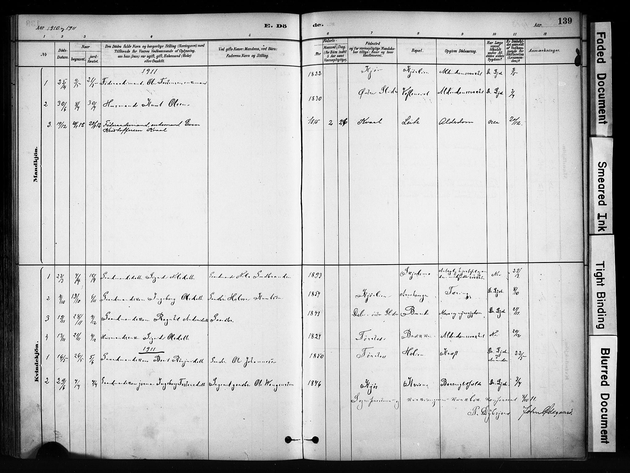 SAH, Vang prestekontor, Valdres, Ministerialbok nr. 9, 1882-1914, s. 139